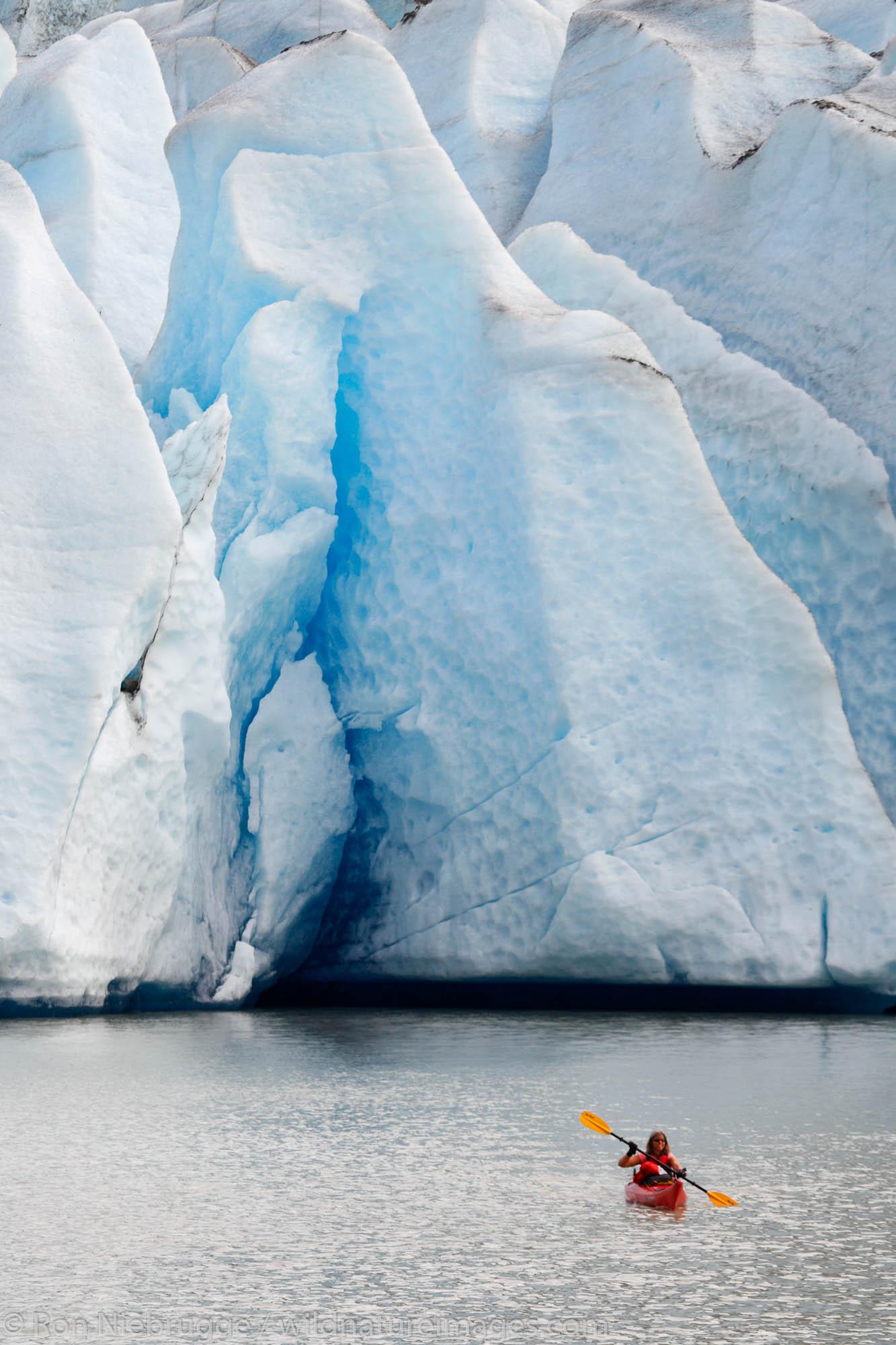 Kayaking in front of Mendenhall Glacier on Mendenhall Lake, Juneau, Alaska.