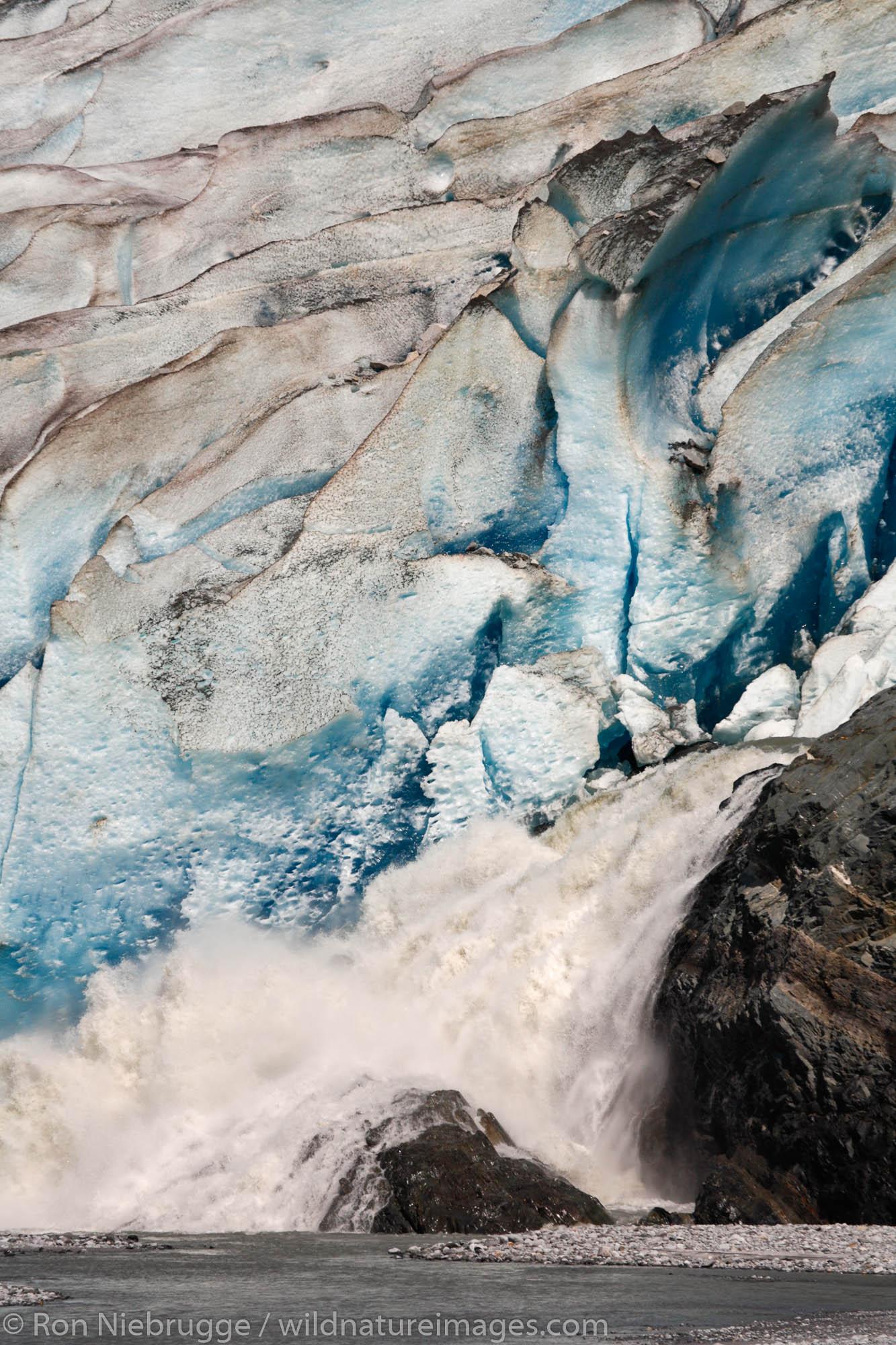 Water rushes from Mendenhall Glacier and into Mendenhall Lake, Juneau, Alaska.