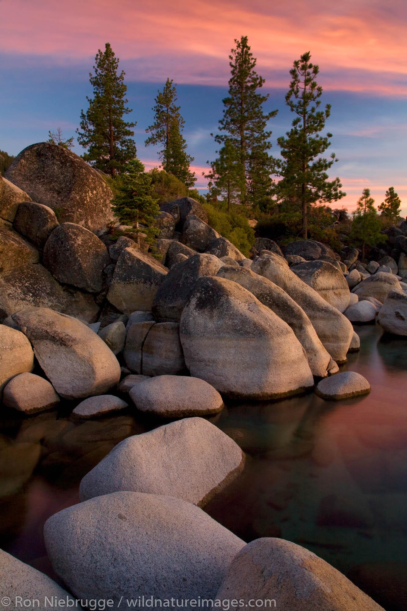 Rocky shoreline at sunset, Sand Harbor State Park, Lake Tahoe, Nevada.