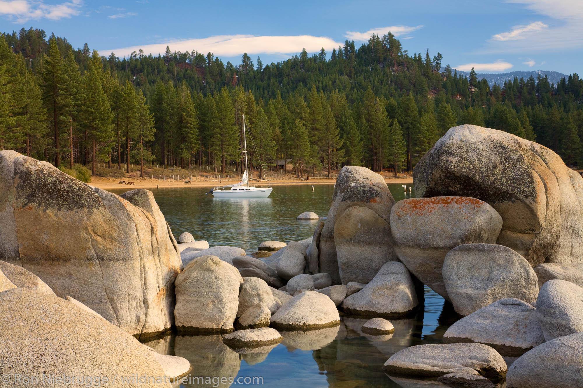 A sailboat in Zephyr Cove, Lake Tahoe, Nevada.