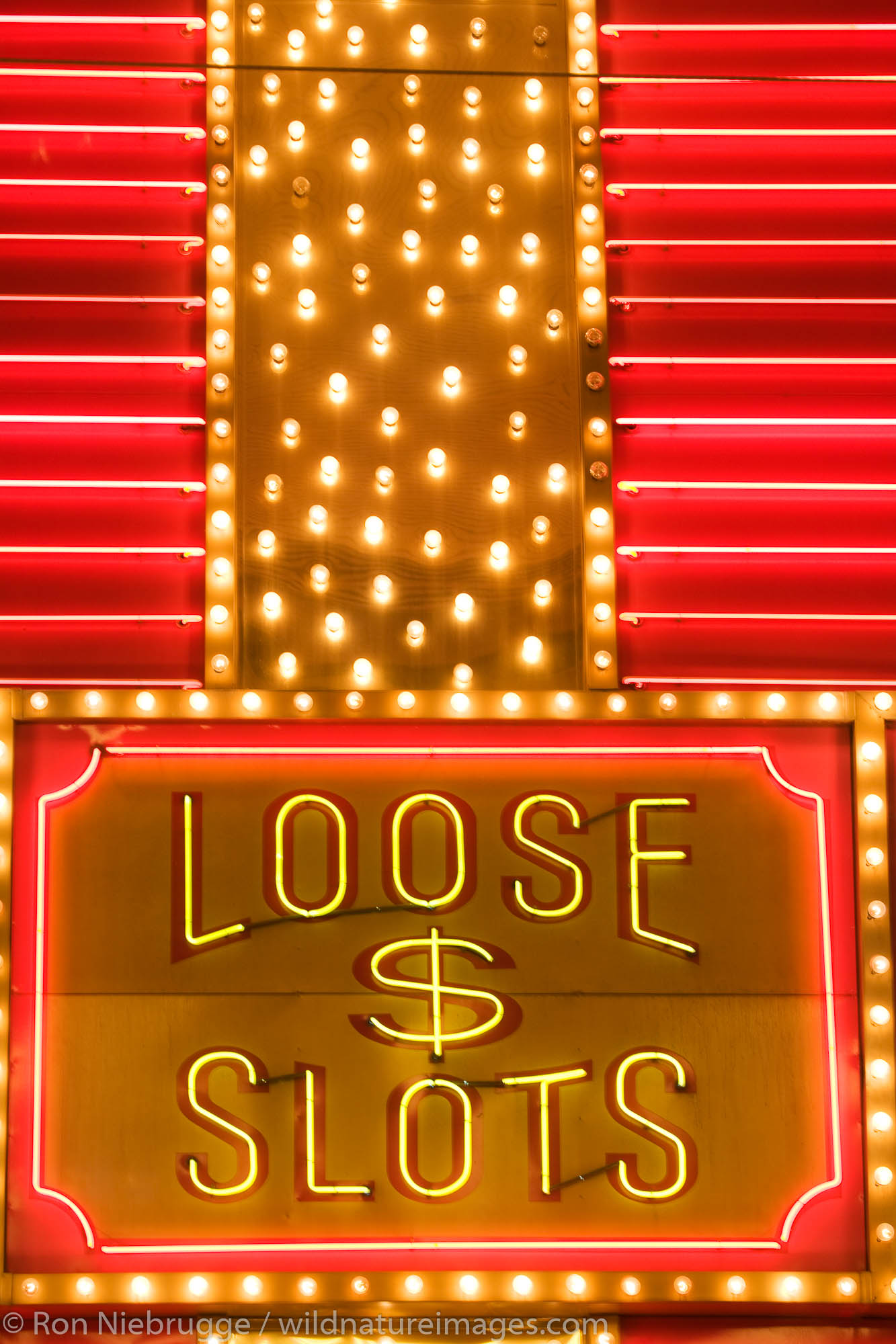 Loose Slots neon sign, downtown Las Vegas, Nevada.