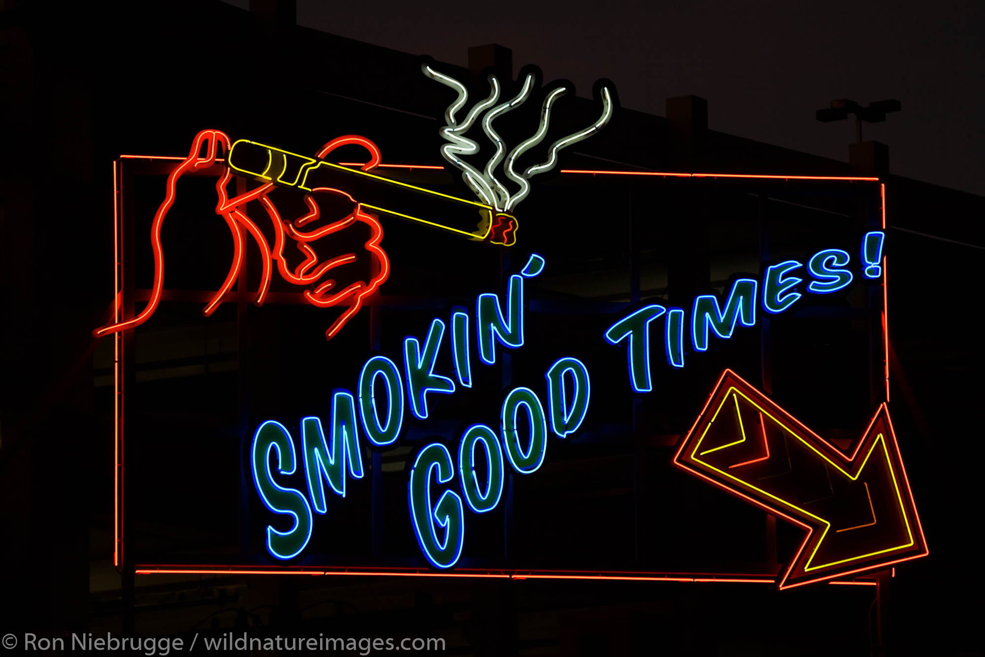 Smokin Good Times neon sign, downtown Las Vegas, Nevada.