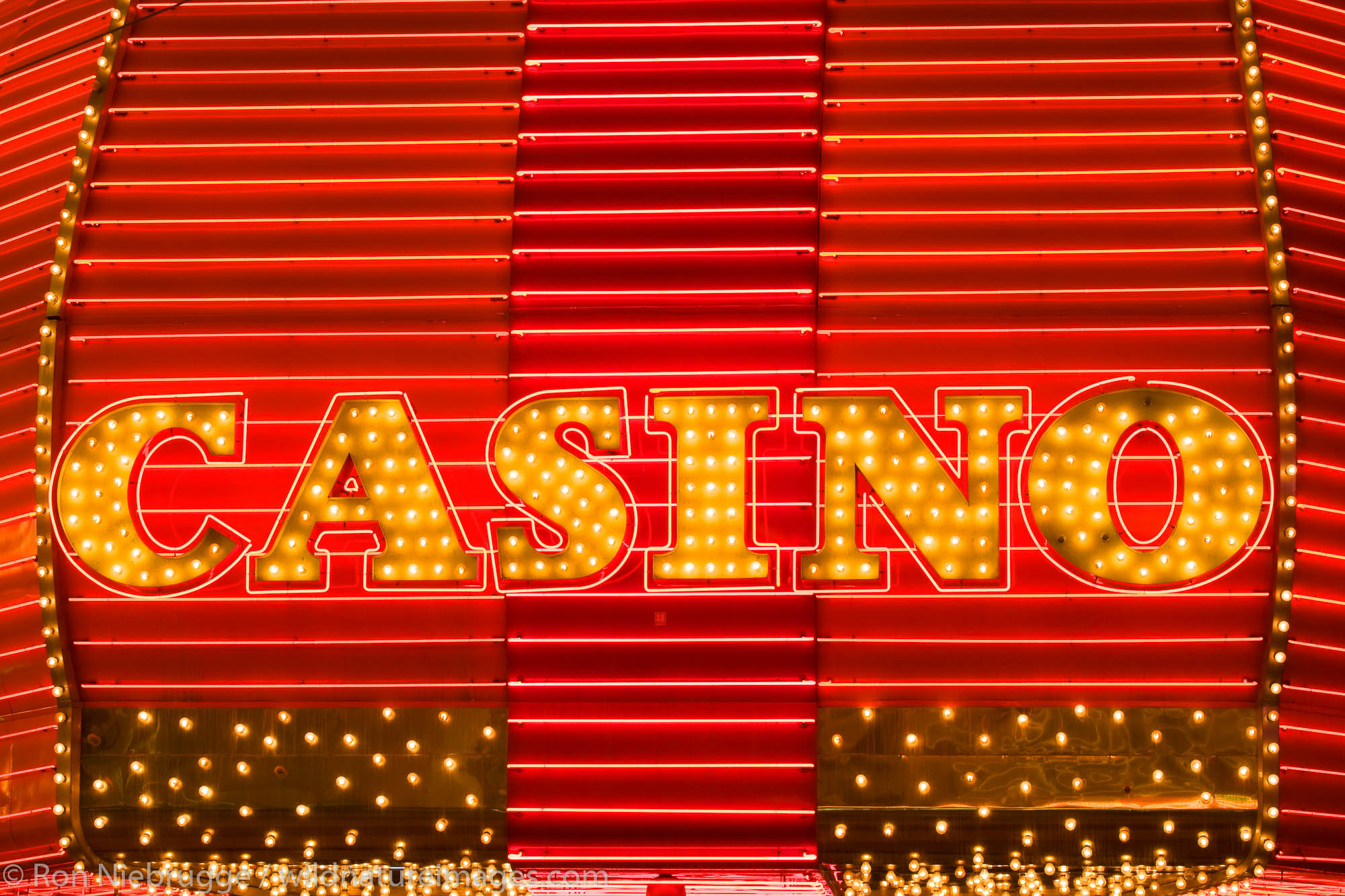 Casino neon sign, downtown Las Vegas, Nevada.