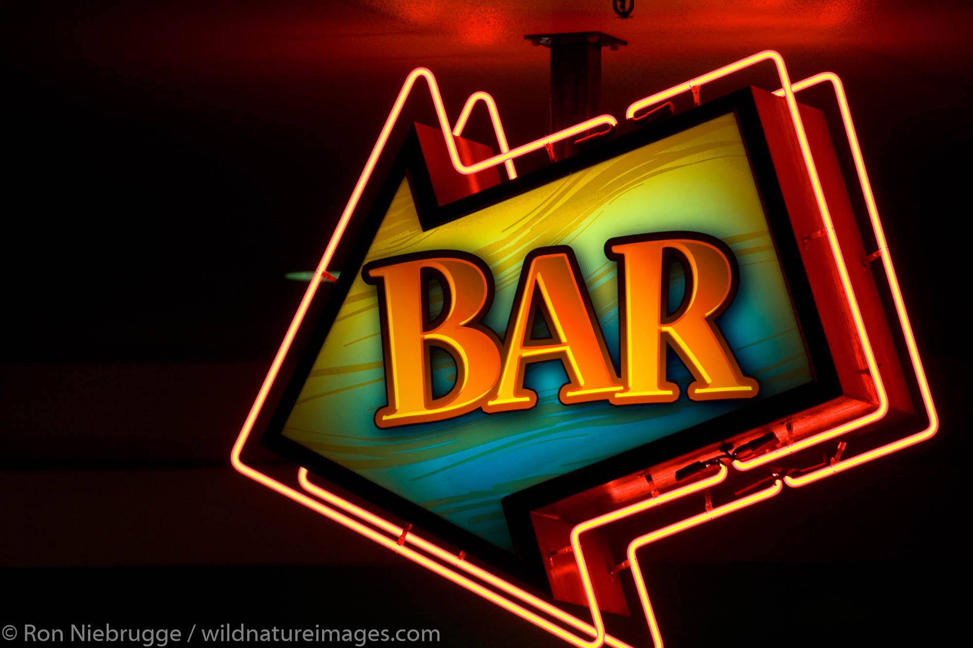 Bar neon sign, downtown Las Vegas, Nevada.