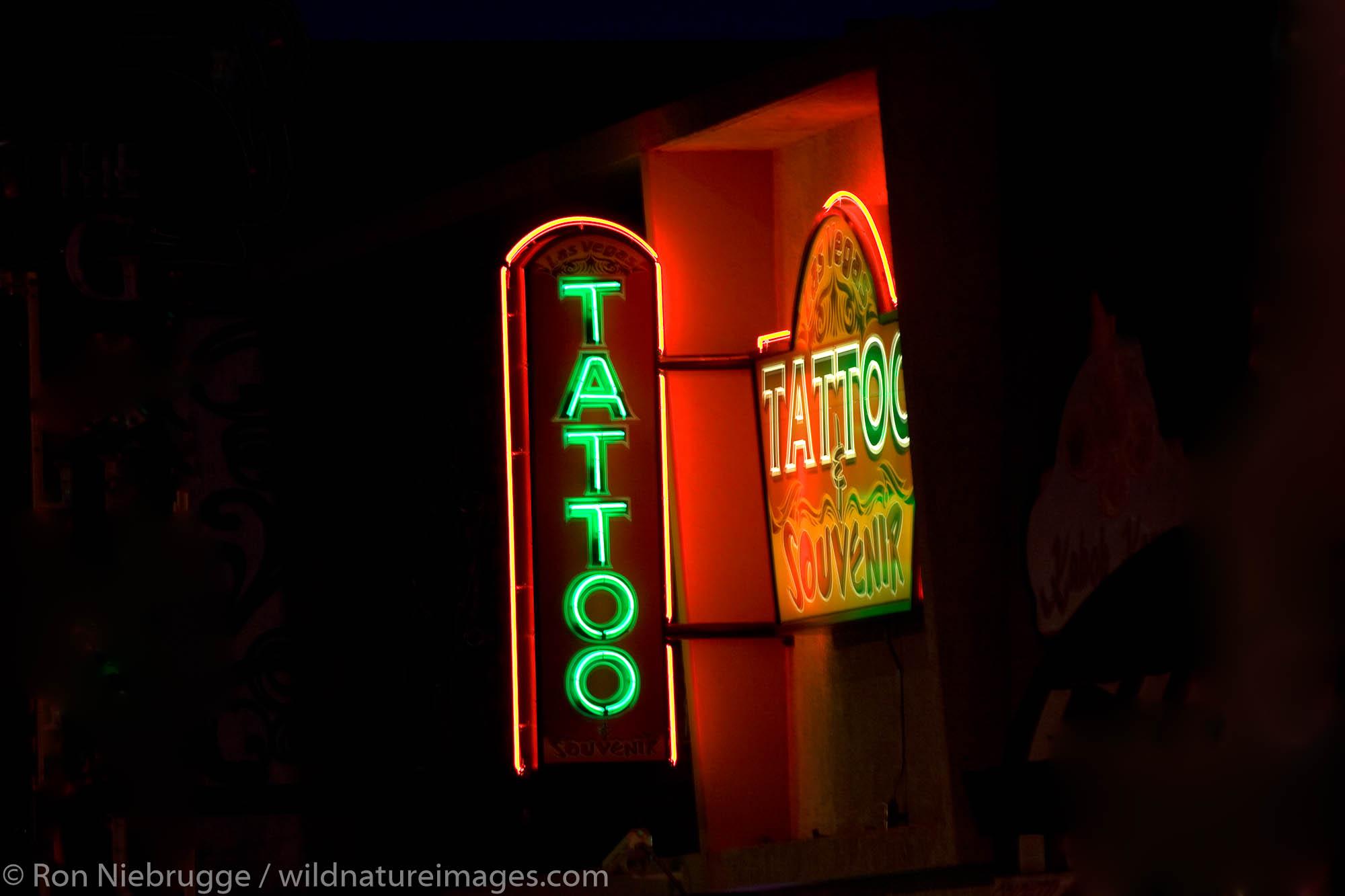 Tattoo neon sign, downtown Las Vegas, Nevada.