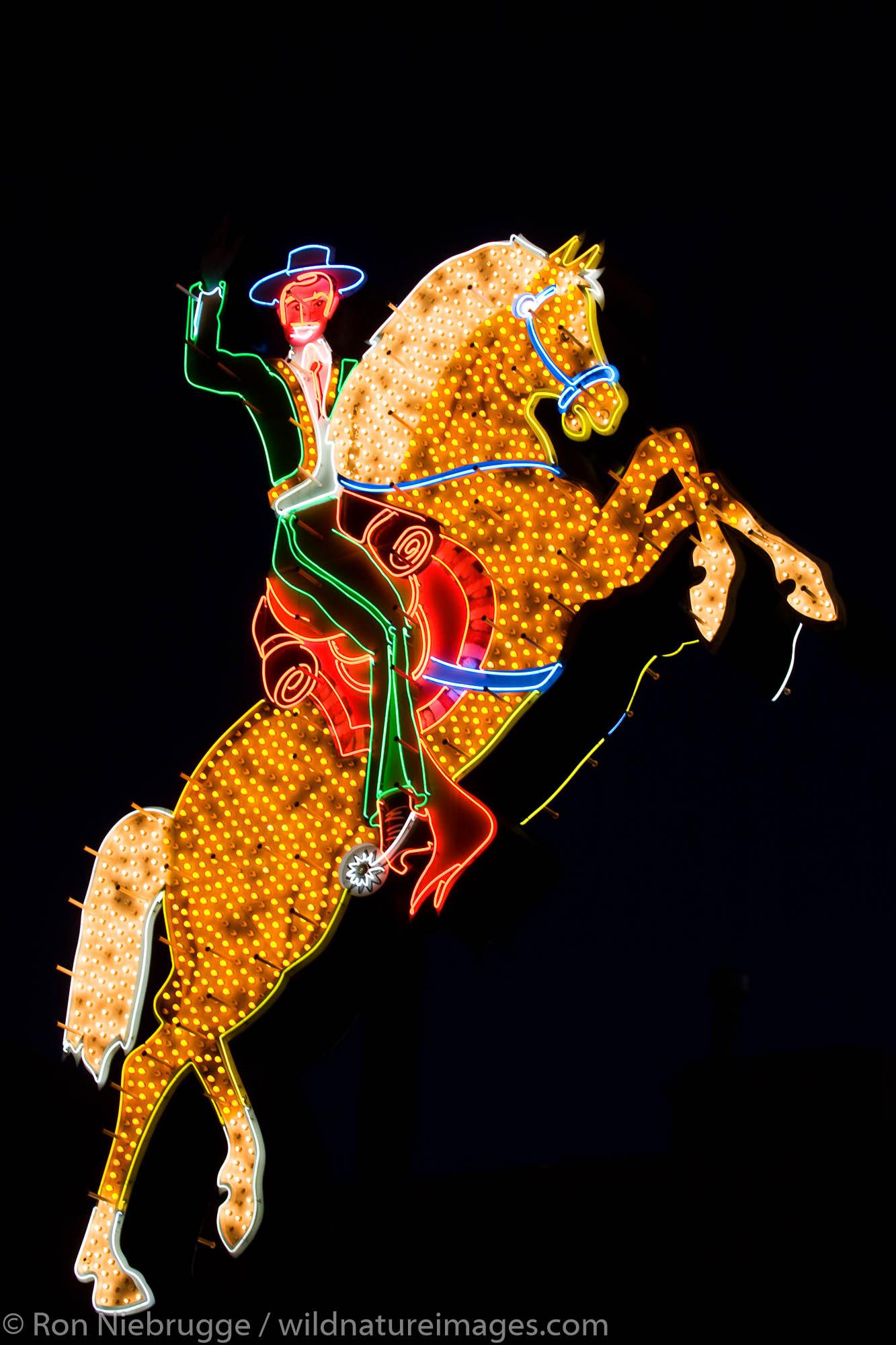Horse neon sign, downtown Las Vegas, Nevada.