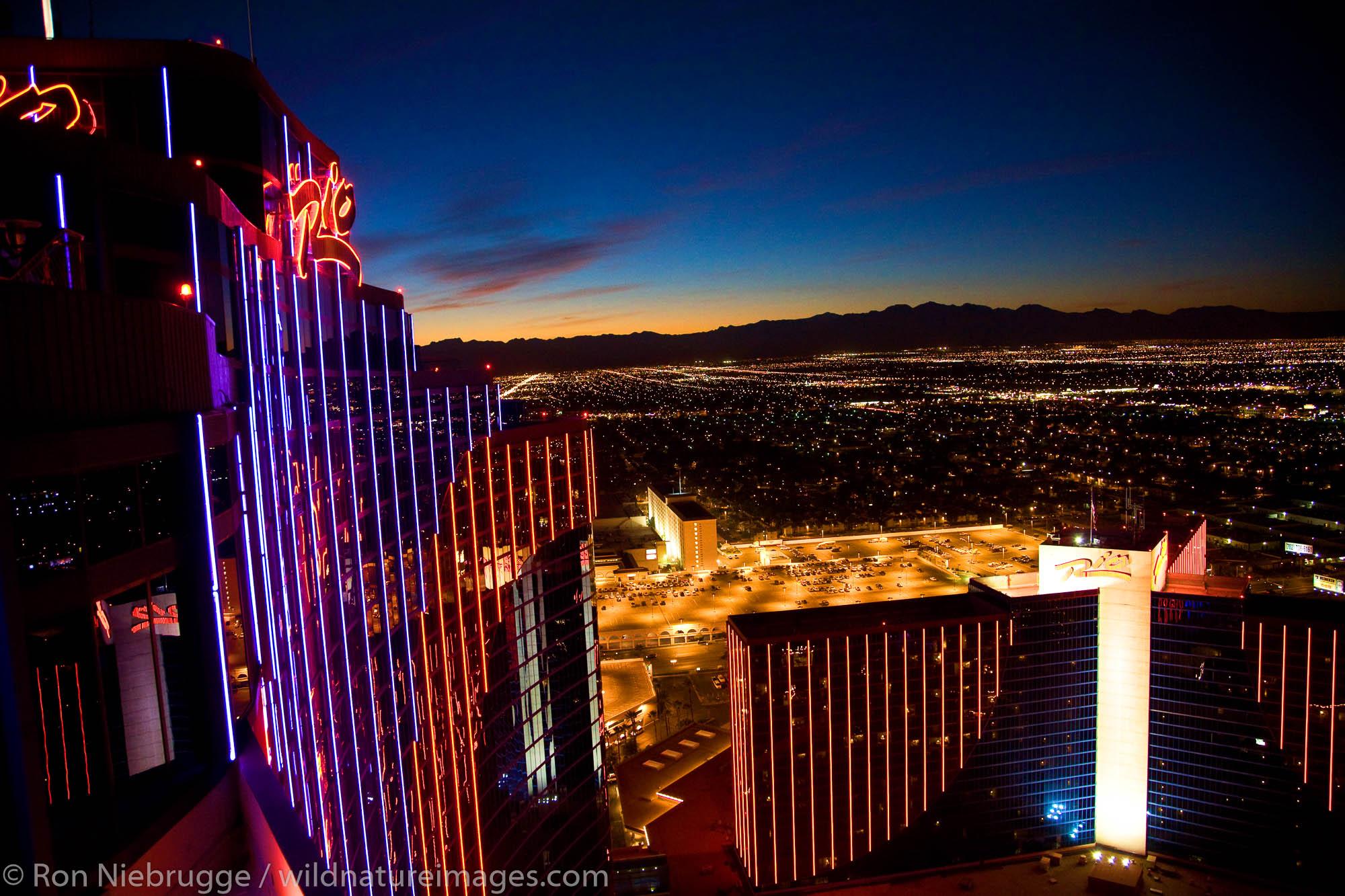The Rio Hotel and Casino at night, Las Vegas, Nevada.