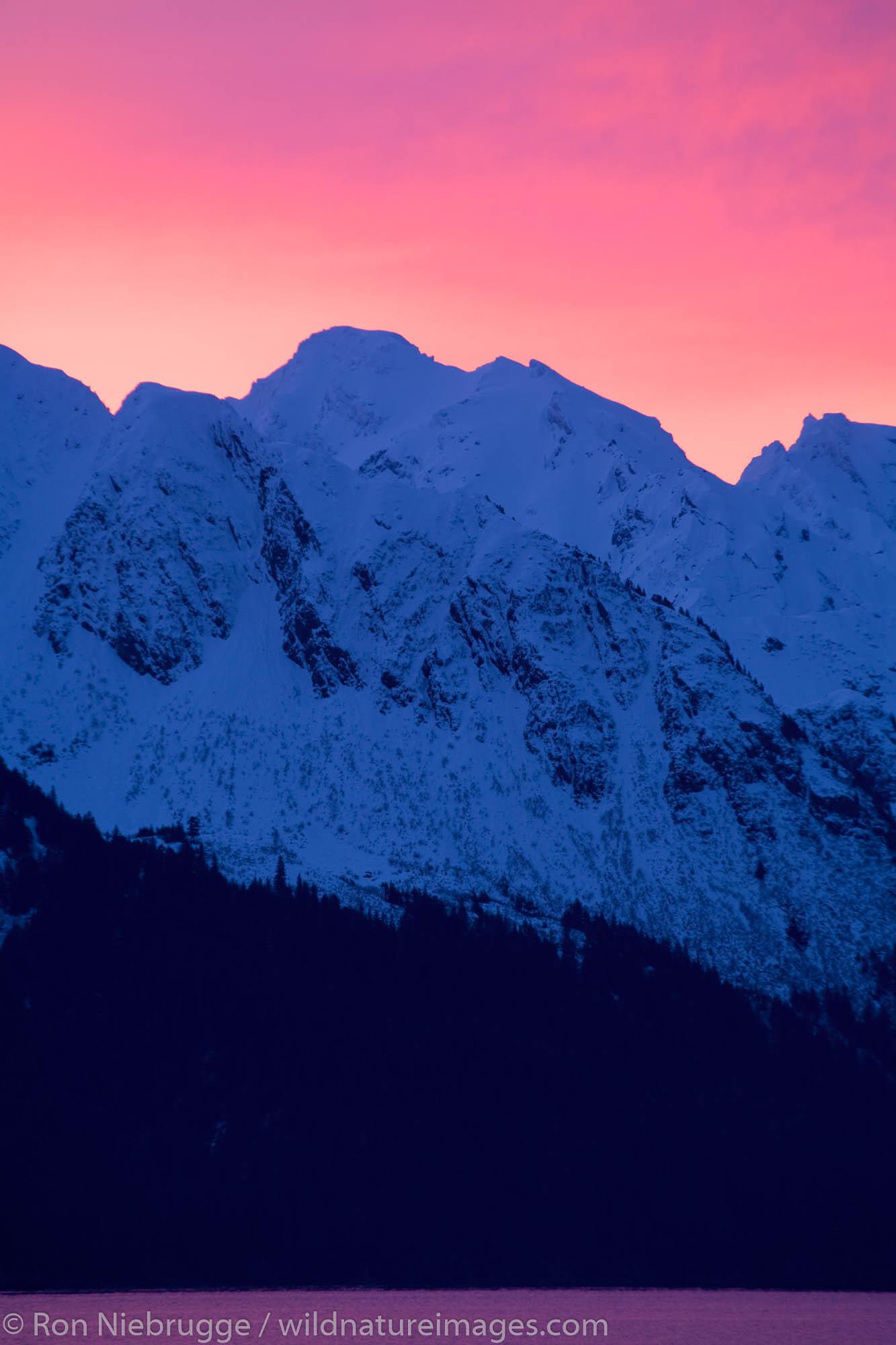 Sunrise over Resurrection Bay and Chugach Mountains, Seward, Alaska.