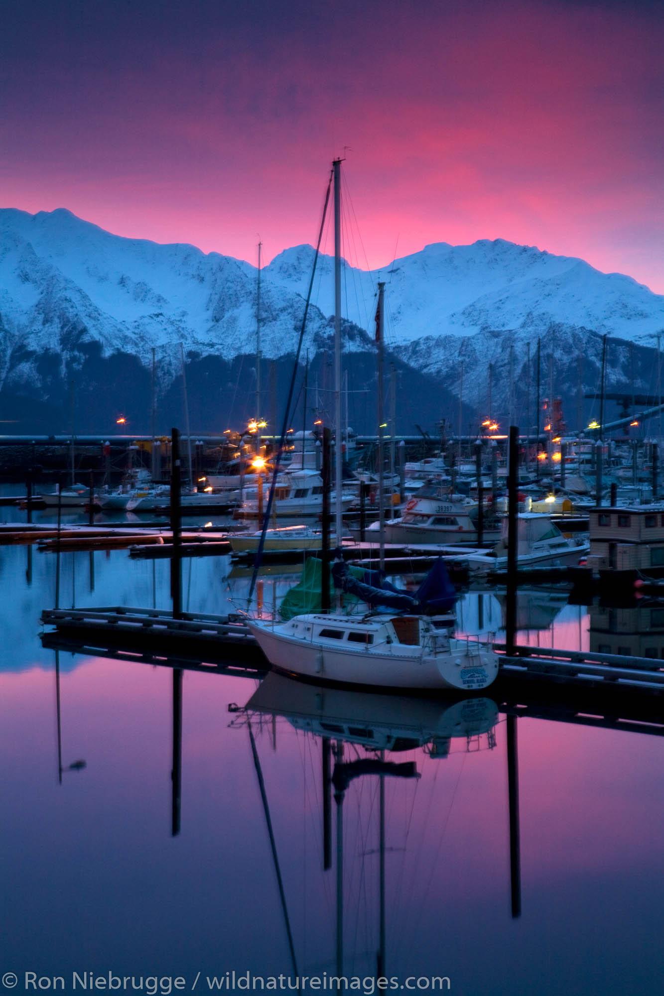 Seward Boat Harbor at Sunrise, Alaska.