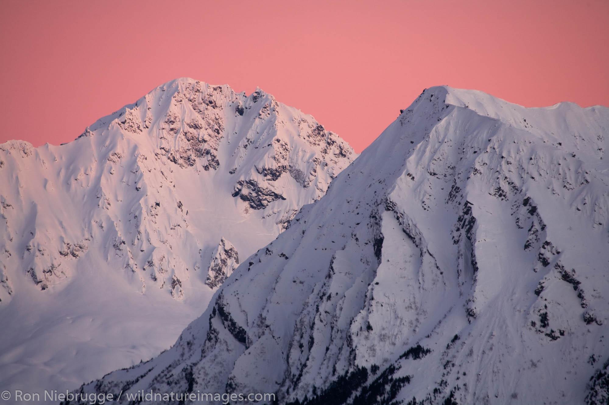 Alpenglow on the mountains of the Resurrection Peninsula, Seward, Alaska.