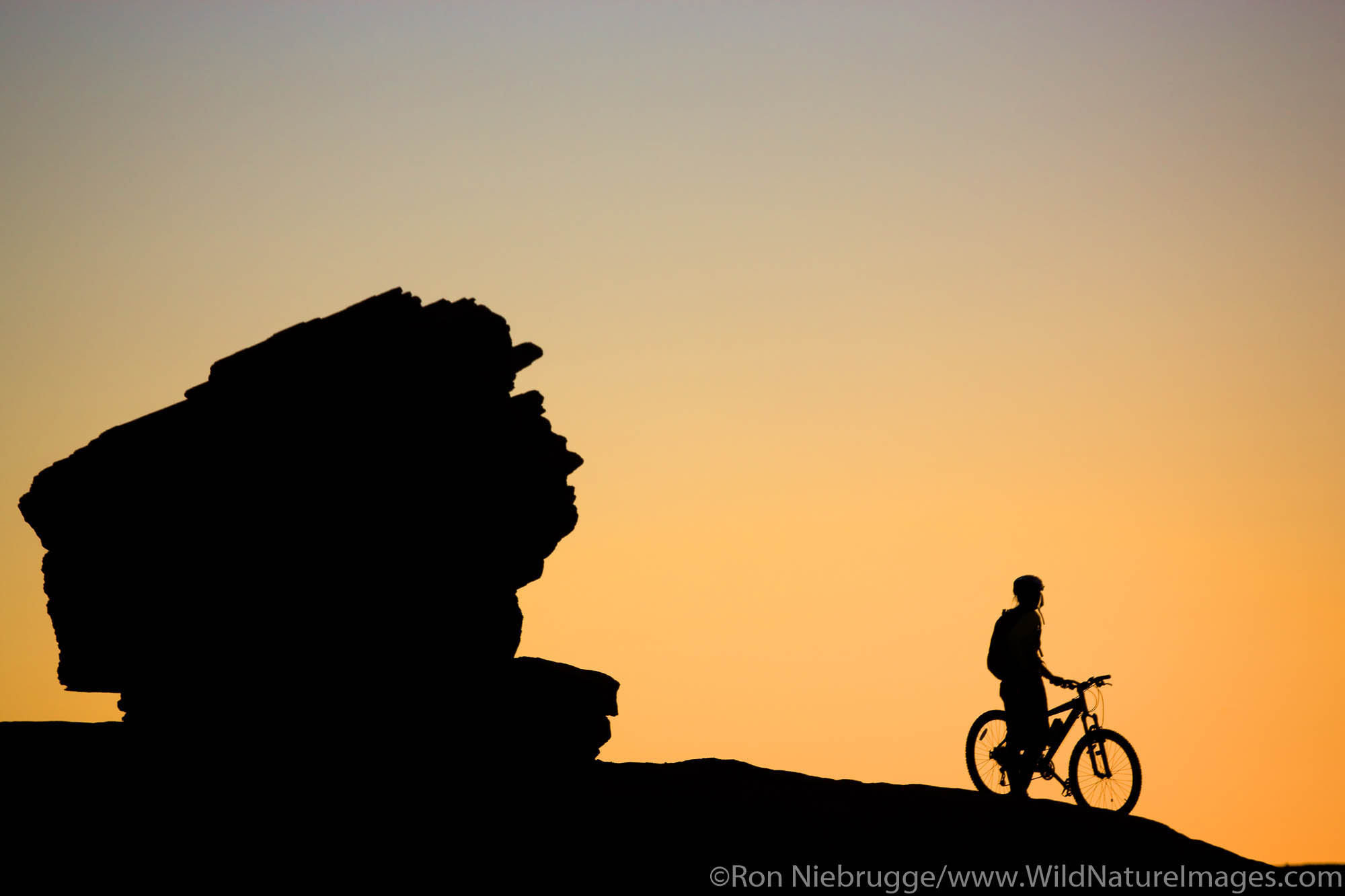 Riding the famous Slickrock Trail, Moab, Utah. (model released)