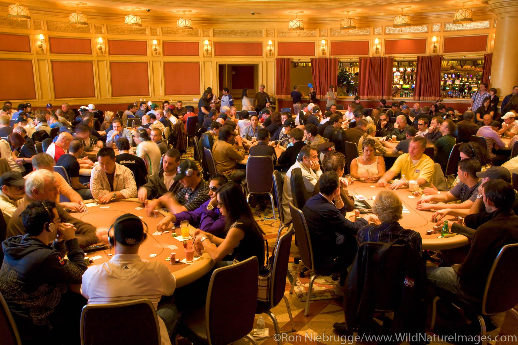 The poker room at the 2008 World Poker Tour Festa Al Lago poker tournament at the Bellagio Resort and Casino, Las Vegas, Nevada...