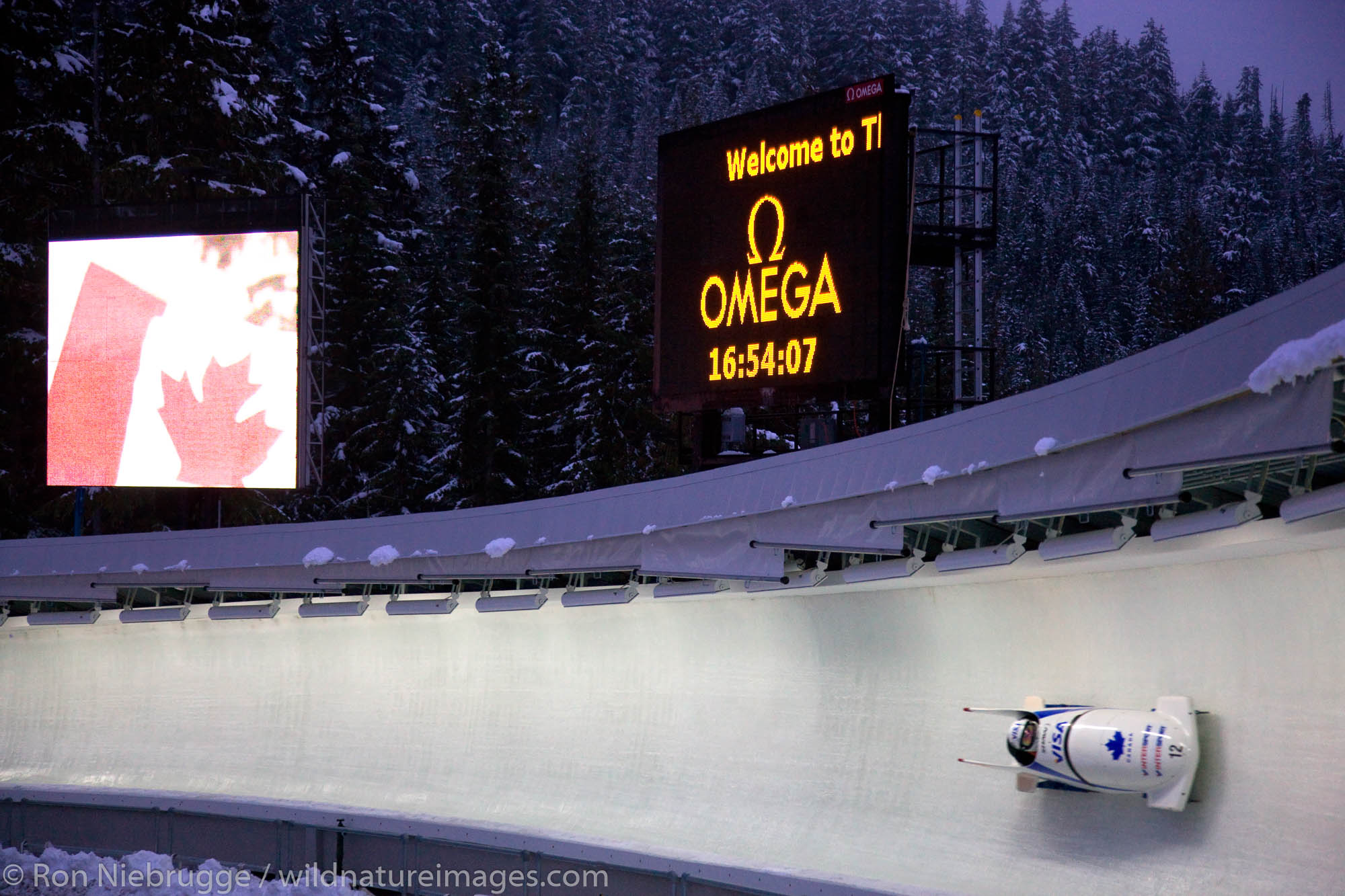 A bobsled during a World Cup practice at the Whistler Sliding Centre, a sports venue for the 2010 Vancouver Winter Olympics...