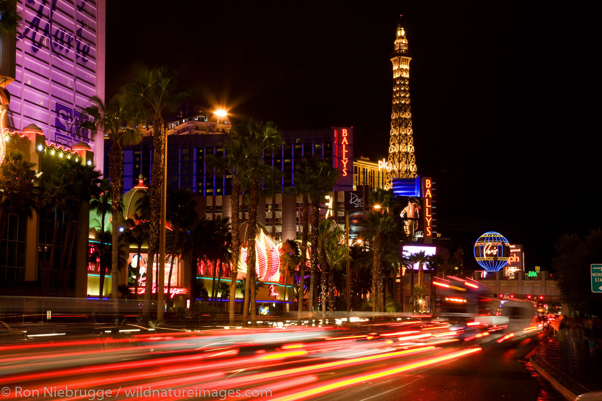 Looking towards the Paris Hotel and Casino on the Strip at night, Las Vegas, Nevada.