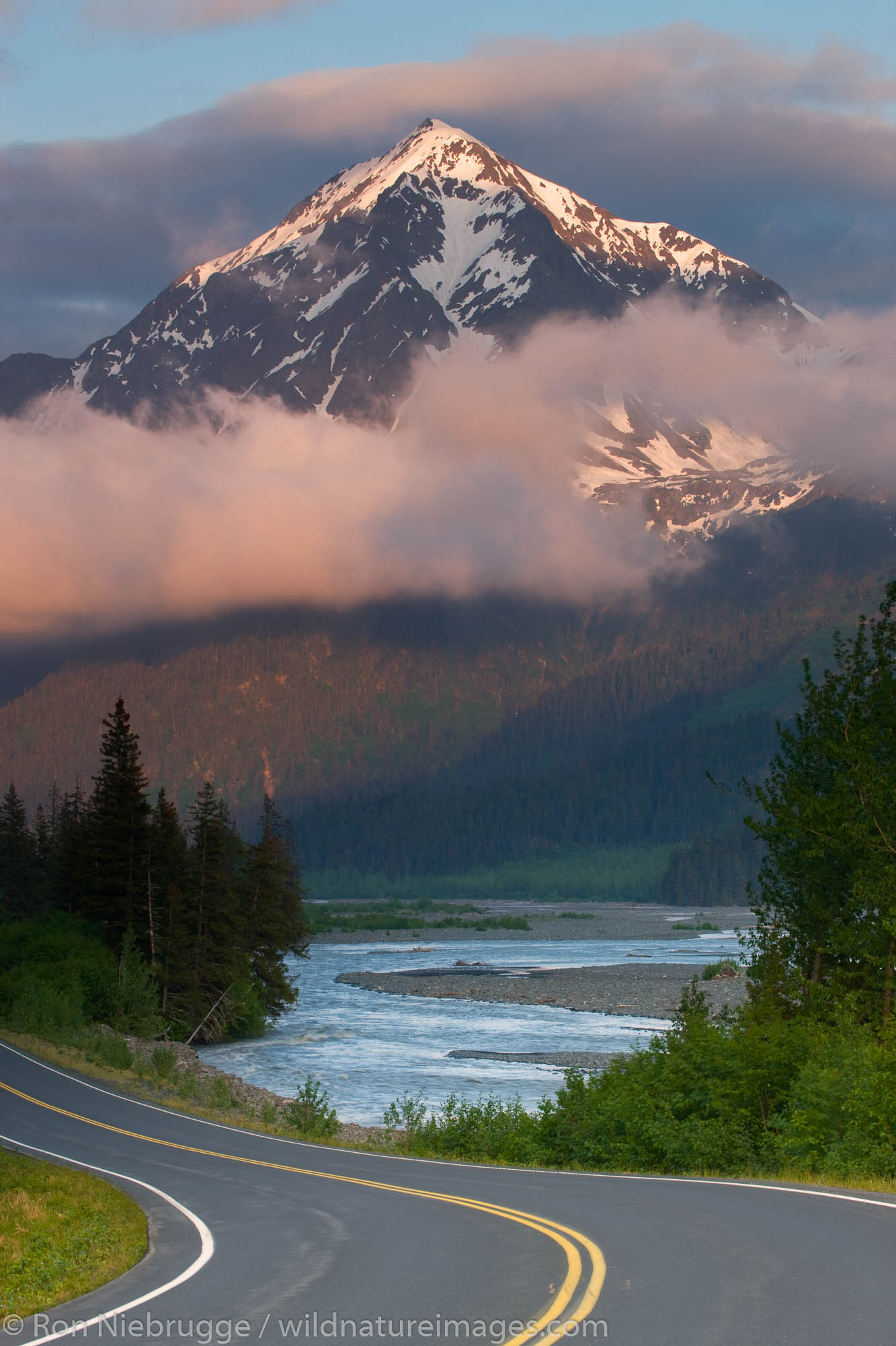 Mount Benson and the Resurrection River, near the border between Kenai Fjords National Park and the Chugach National Forest...