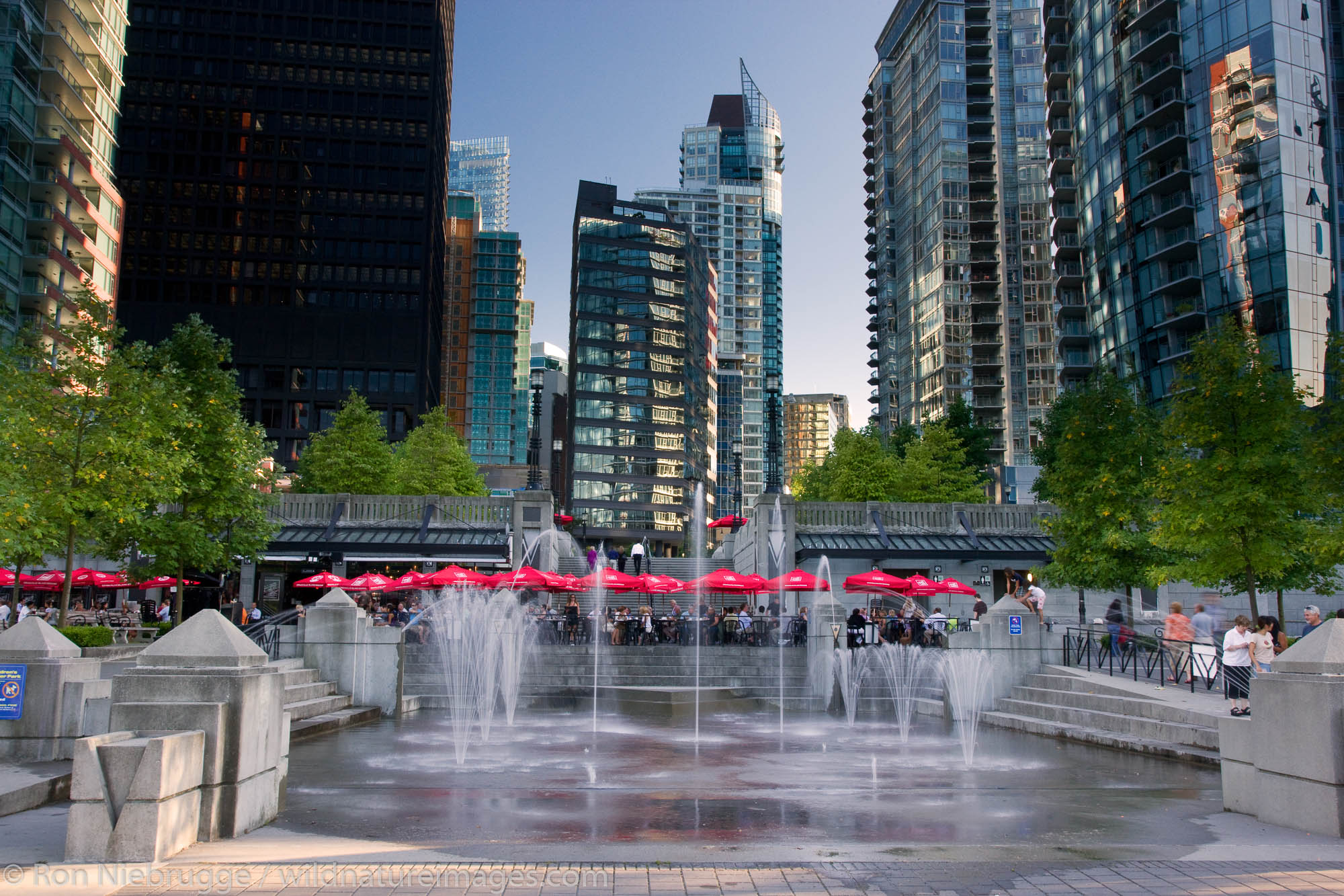 Water Fountains at The Mill, Vancouver, British Columbia, Canada.