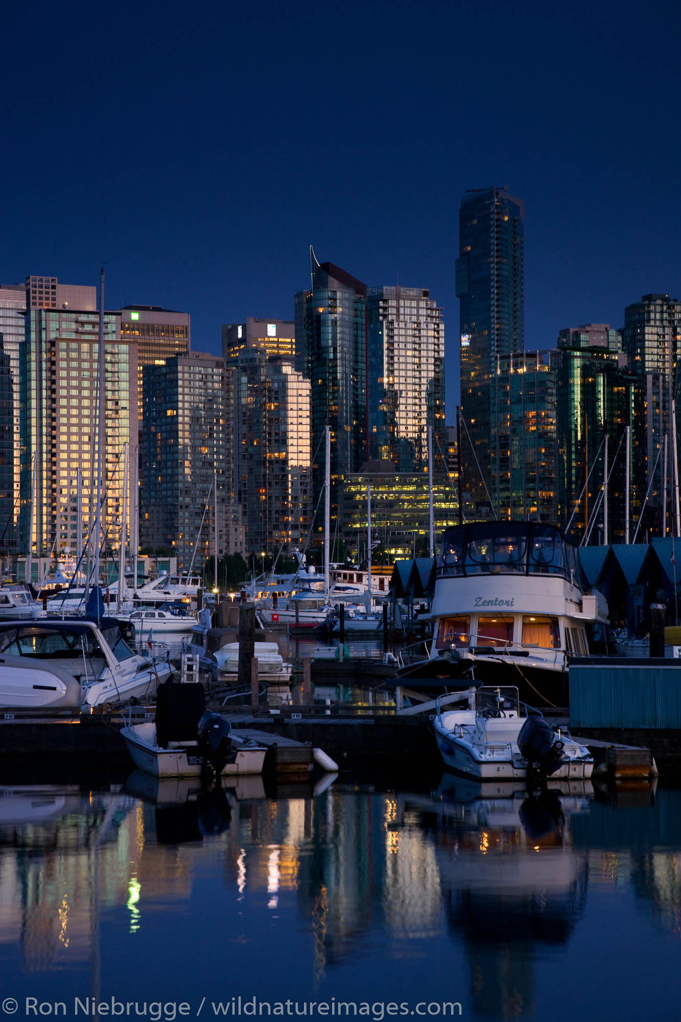 Coal Harbour and downtown Vancouver fron Stanley Park, British Columbia, Canada.