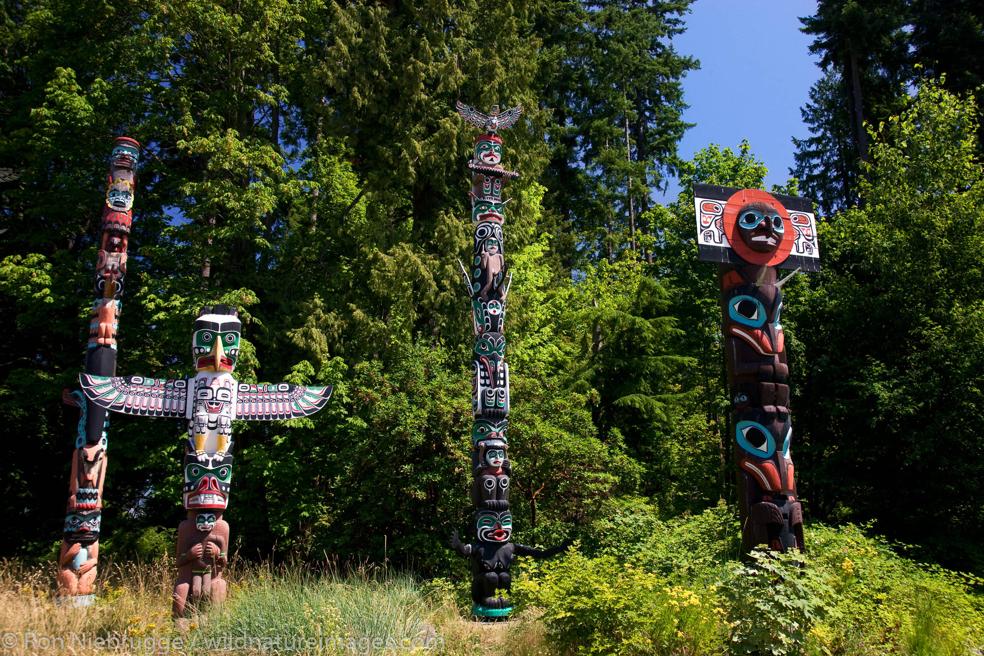 Totem Poles in Stanley Park, Vancouver, British Columbia, Canada.