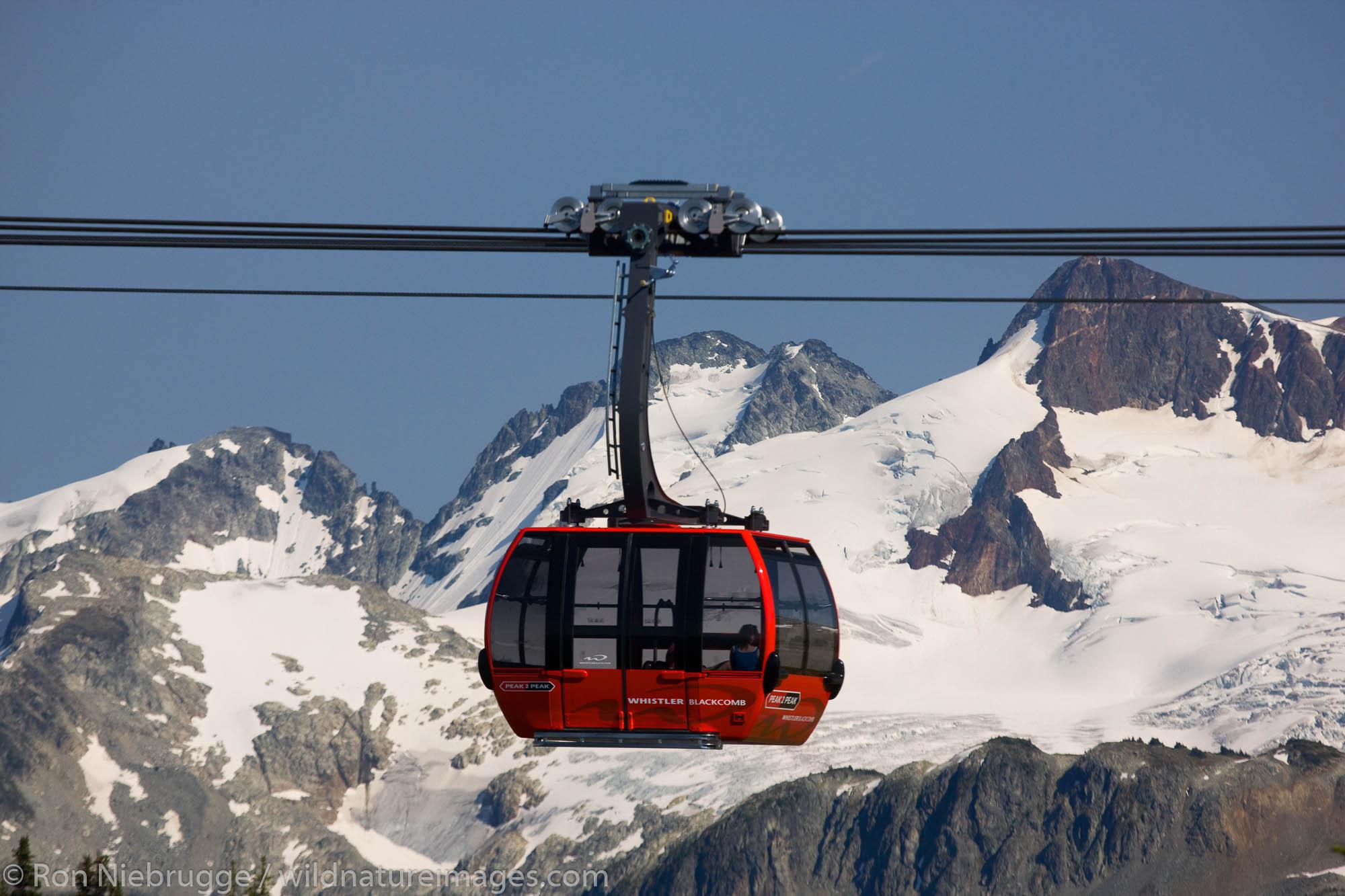 Peak 2 Peak Tram between Whistler Mountain and Blackcomb, Whistler, British Columbia, Canada.
