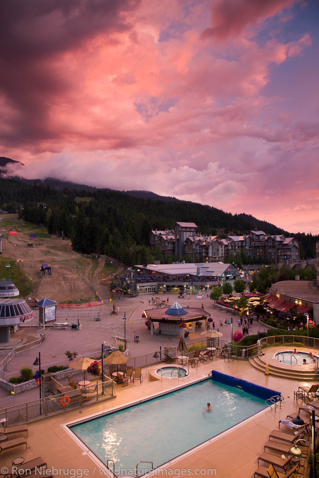 Sunset over Whistler Village, Whistler, British Columbia, Canada.