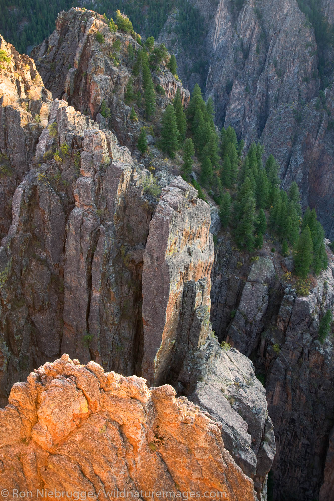 Viewpoint at Island Peaks View on the North Rim, Black Canyon of the Gunnison National Park, Colorado.