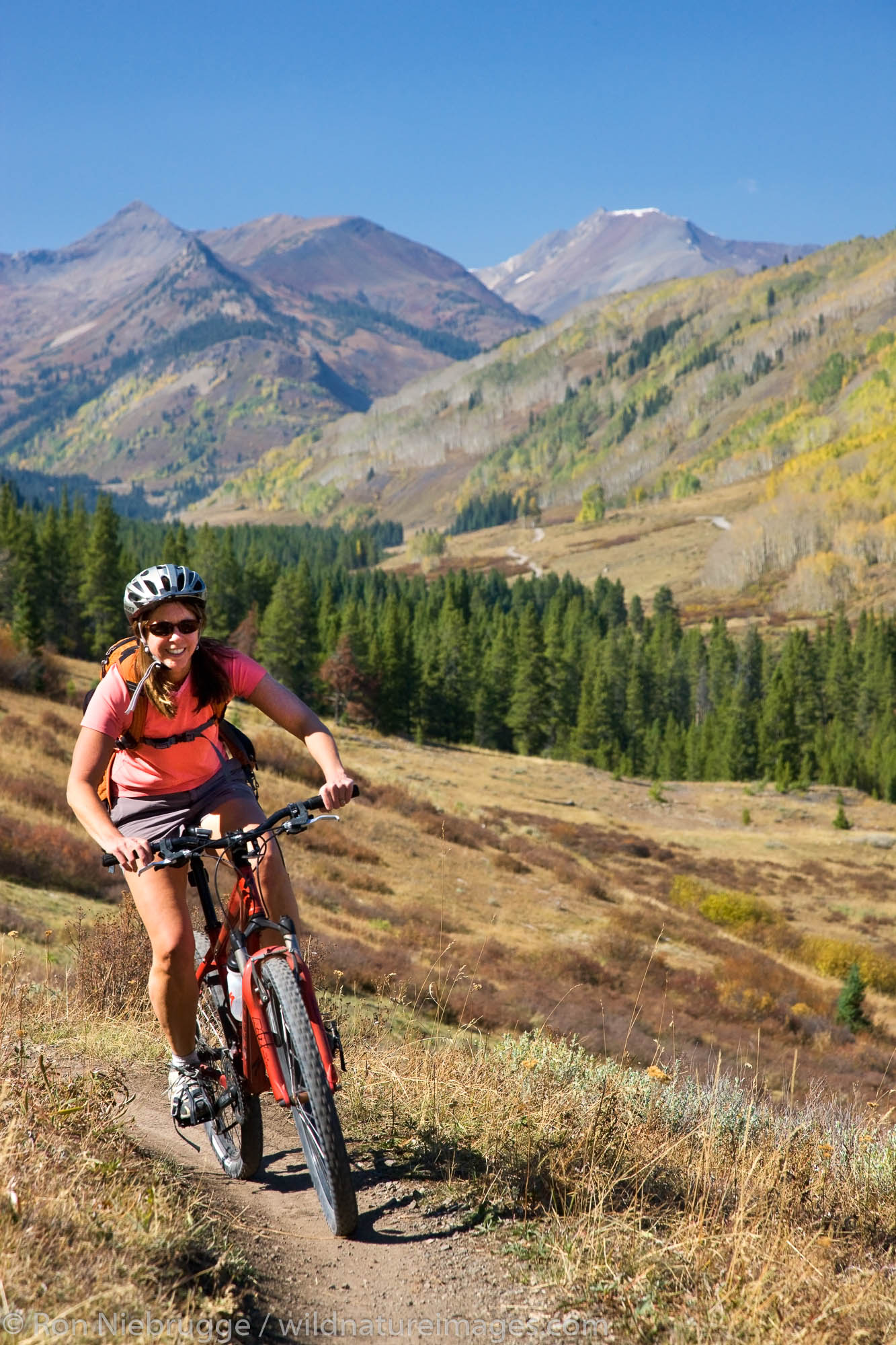 Mountain biking on the Upper and Lower Loop, Crested Butte, Colorado.  (model released)