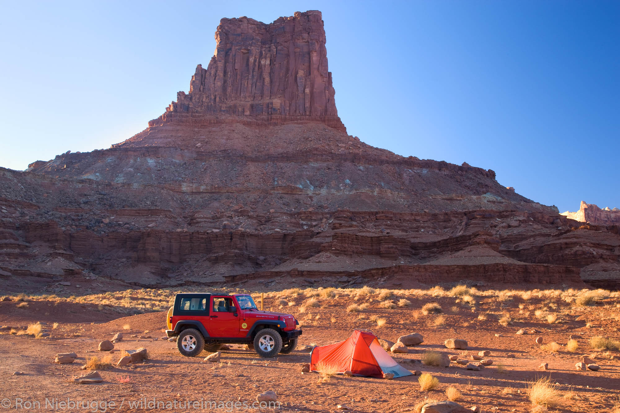 Camping along the White Rim Trail at the Airport Campground, Island in the Sky District, Canyonlands National Park, near Moab...