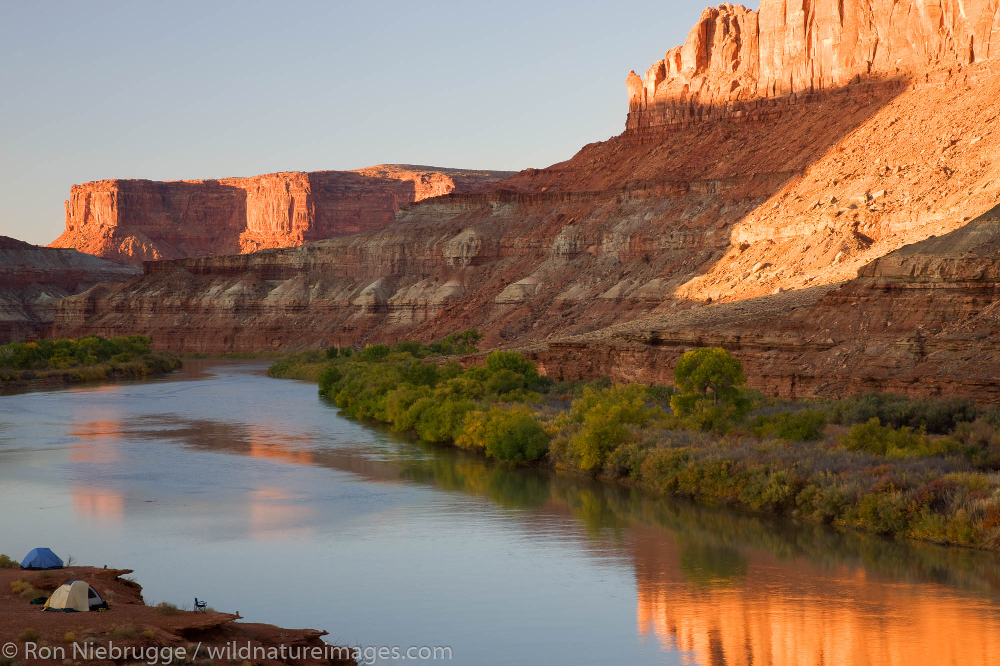 The Green River and the Labyrinth Campground site B, along the White Rim Trail, Island in the Sky District, Canyonlands National...