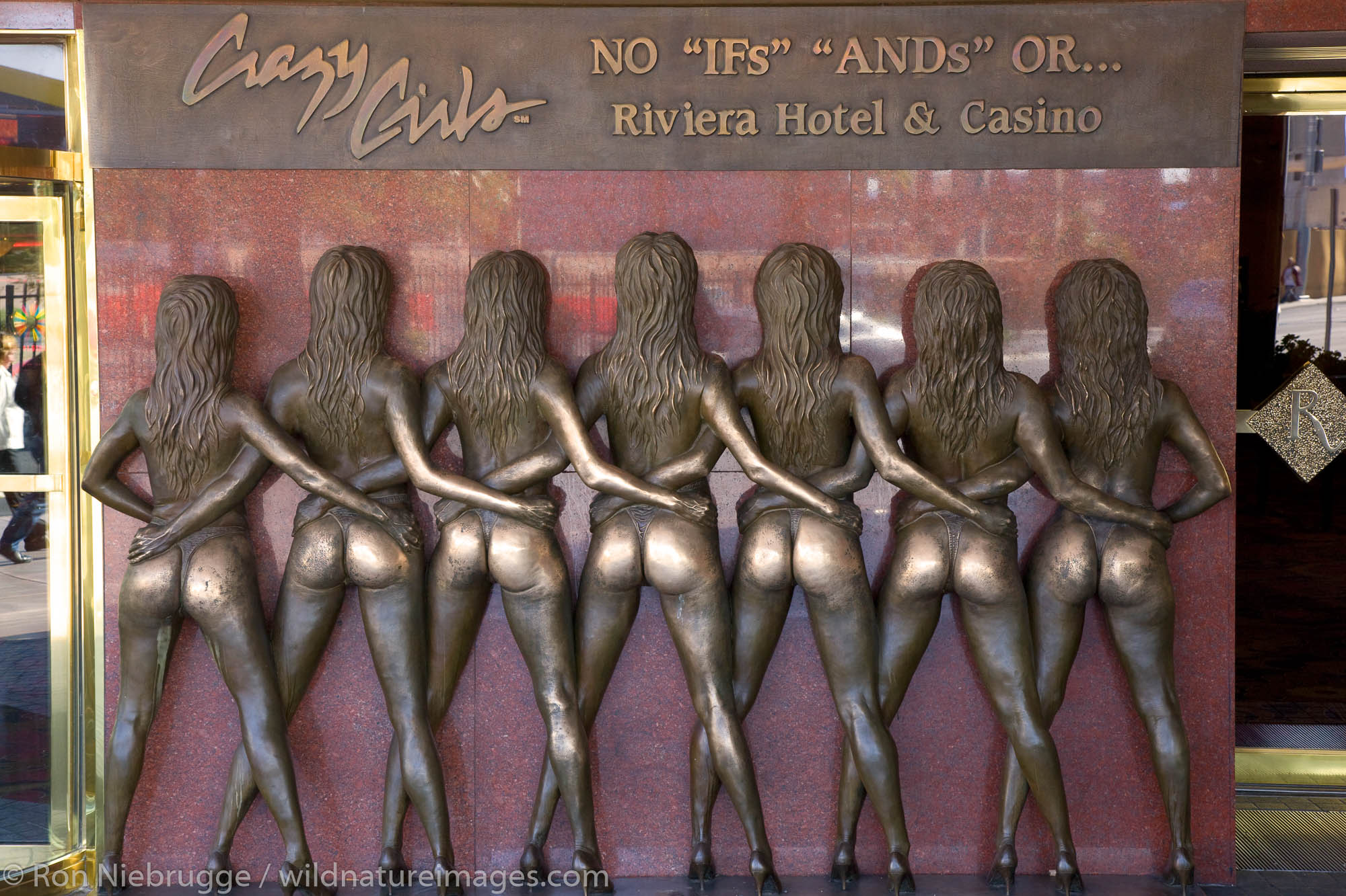 """No """"IFs"""" """"AND"""" Or.. Crazy Girl statue at the Riviera Hotel and Casino, Las Vegas, Nevada."""