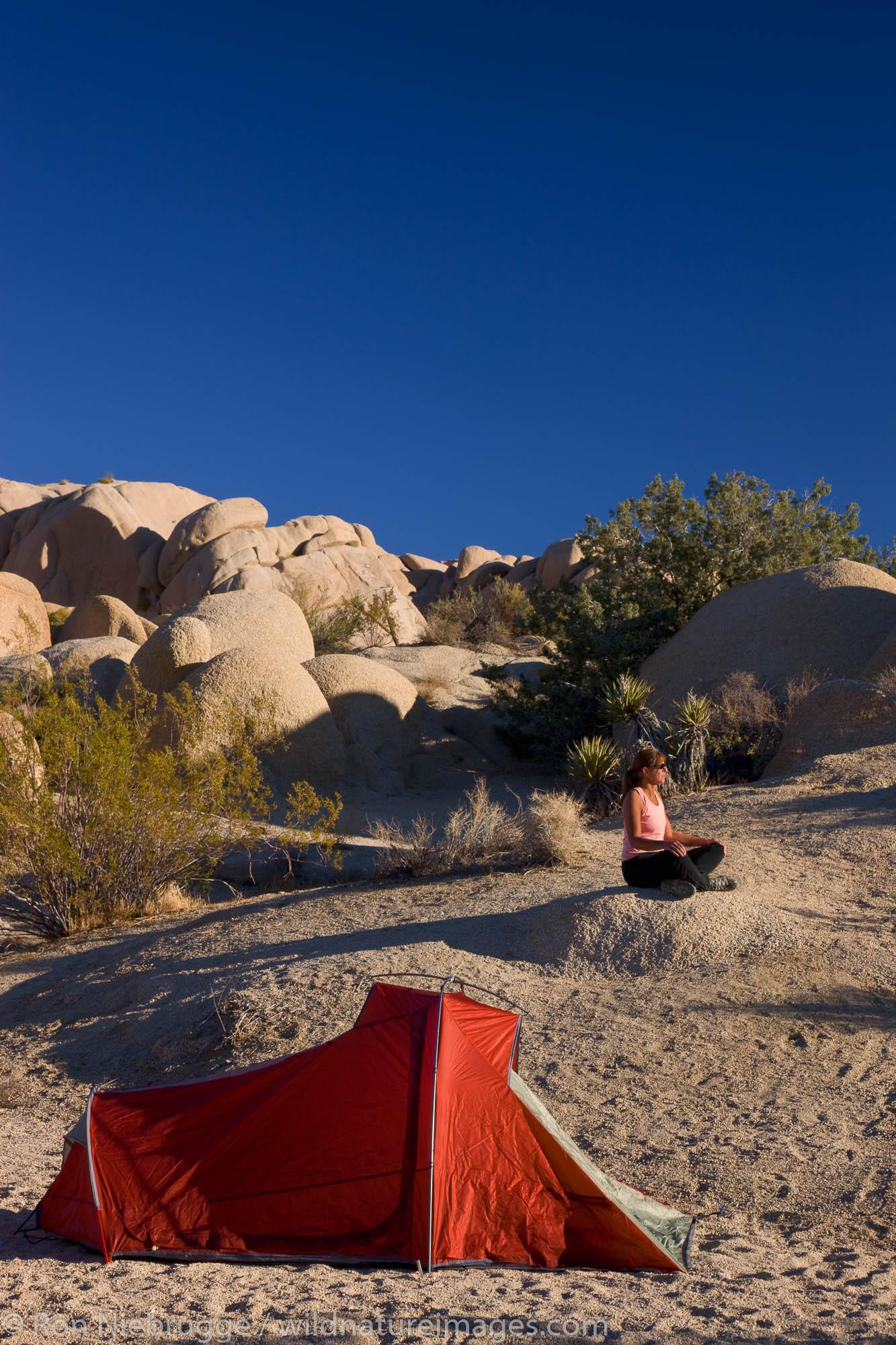 Jumbo Rocks Campground, Joshua Tree National Park, California. (model released)
