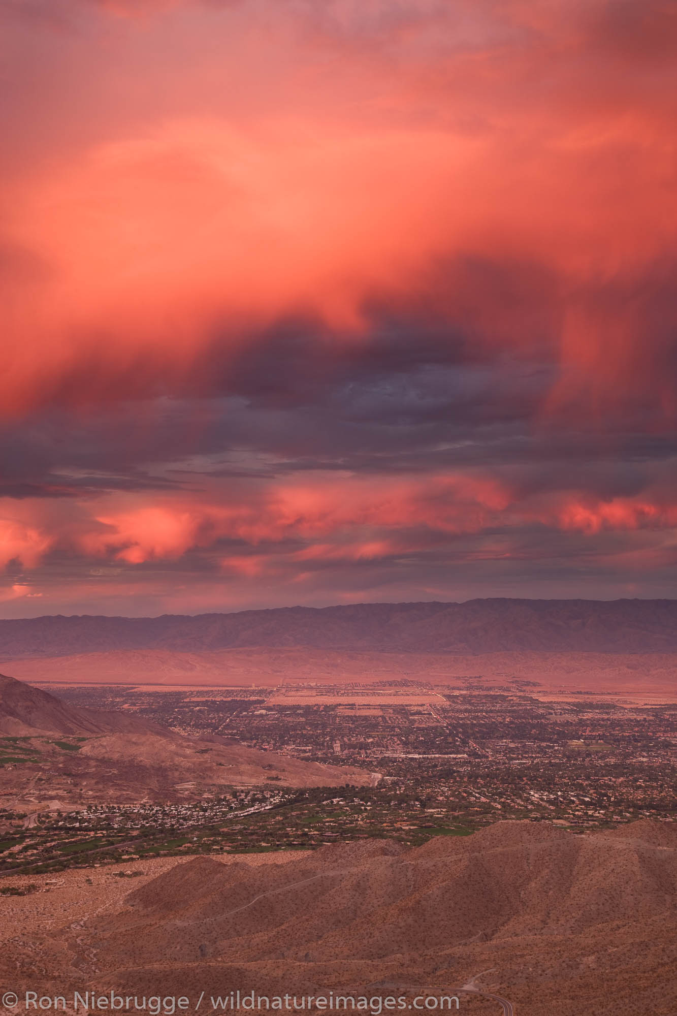 Sunset over Palm Desert and Rancho Mirage in the Coachella Valley, California.