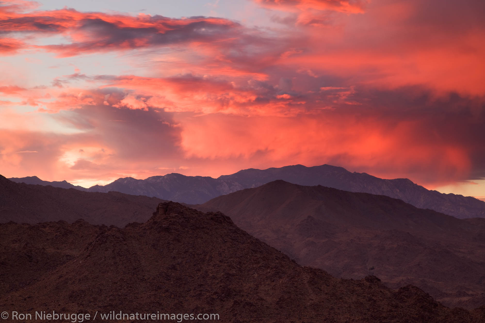 Sunset over the San Jacinto Mountains from Palm Desert and the Coachella Valley, California.