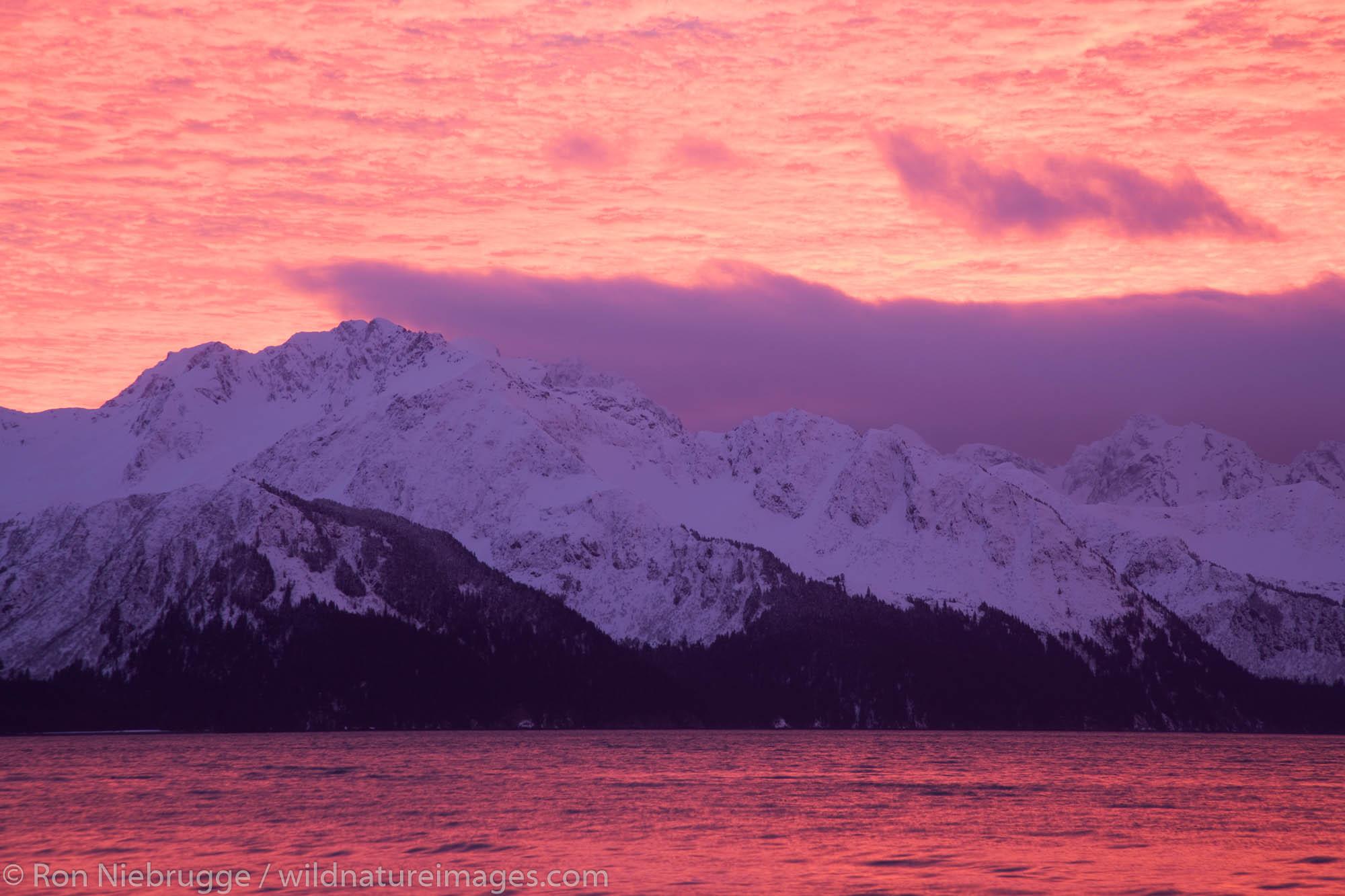 Resurrection Bay at sunrise, Seward, Alaska.