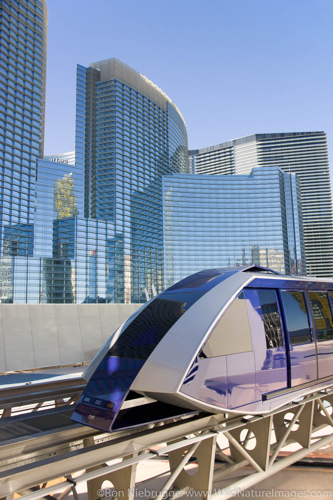 Tram with the Aria in the background, City Center, Las Vegas, Nevada.