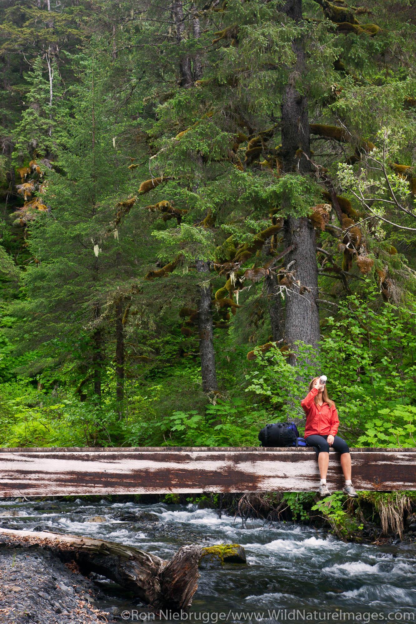 Hiking on the Resurrection River Trail, Chugach National Forest, Alaska.