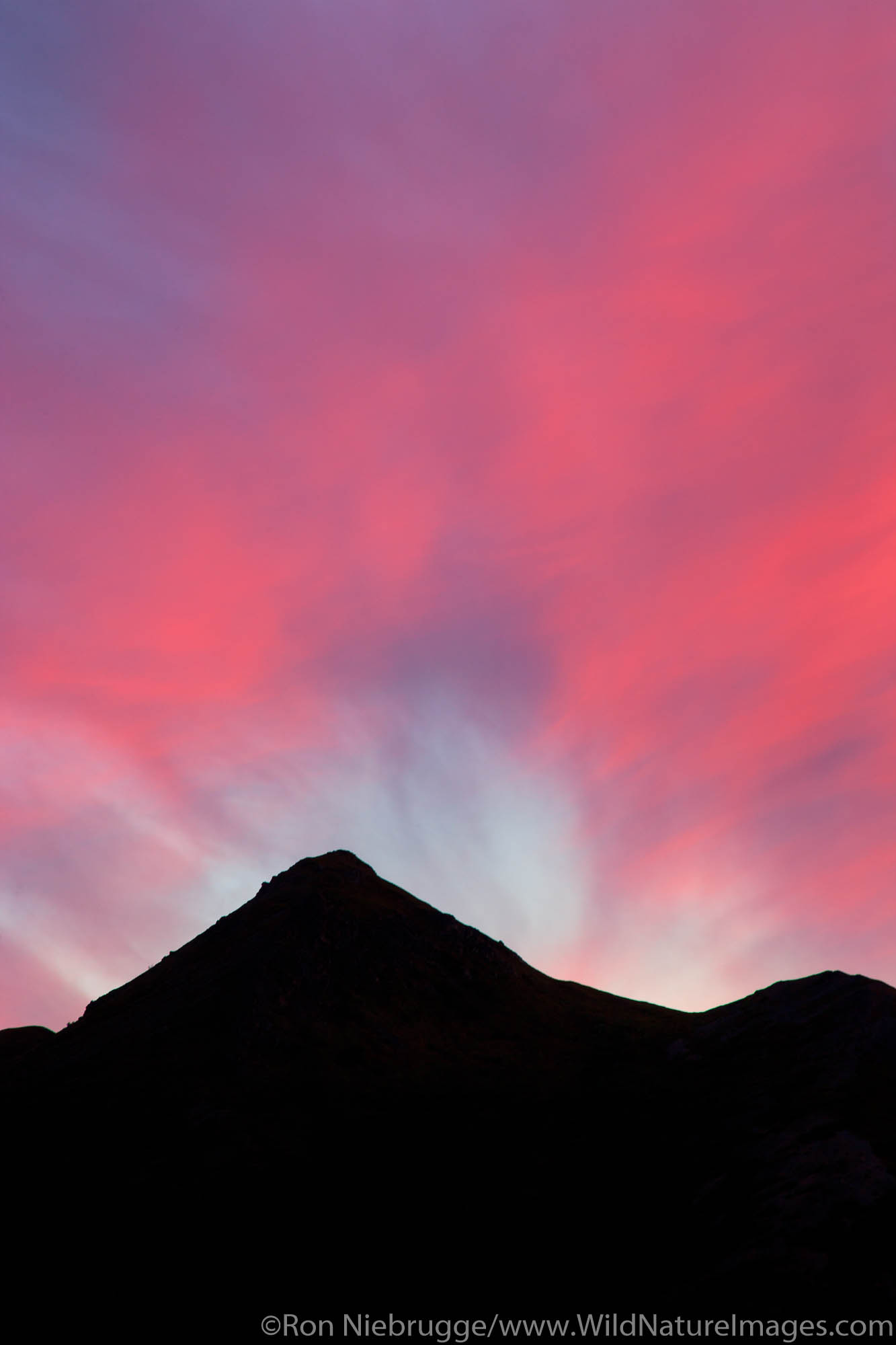 Sunset over the Teklanika River valley, Denali National Park, Alaska.