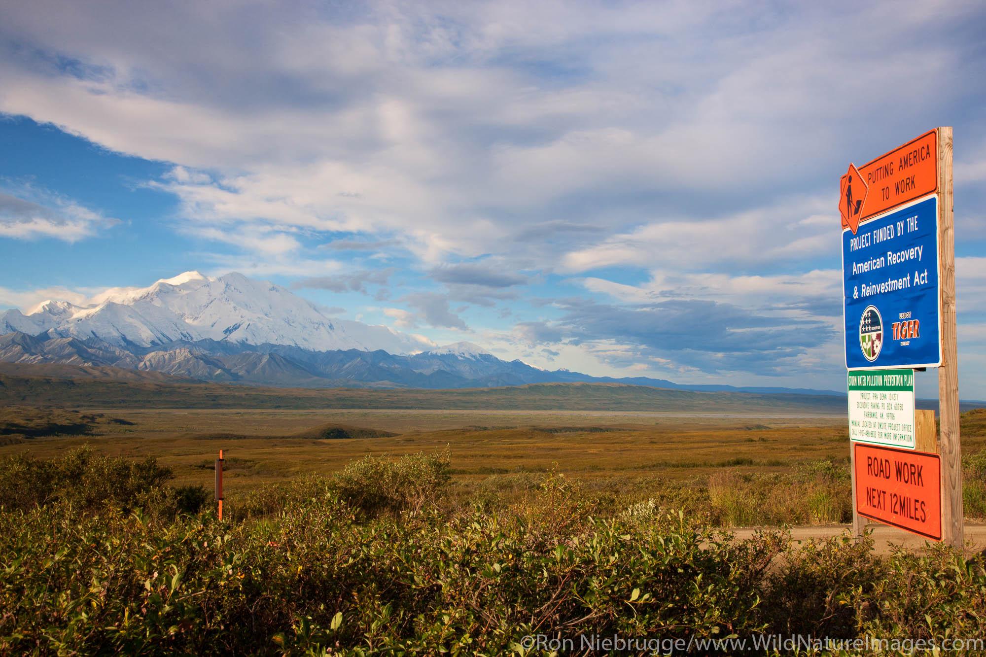 Road project sign, Denali National Park, Alaska.
