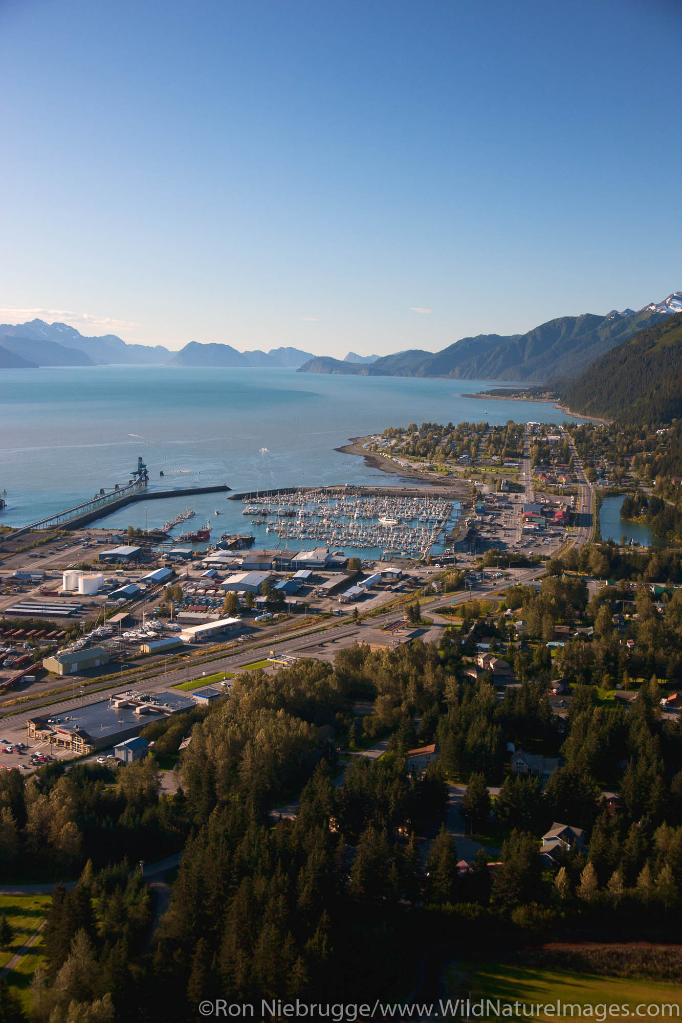 Aerial of Seward, Alaska.