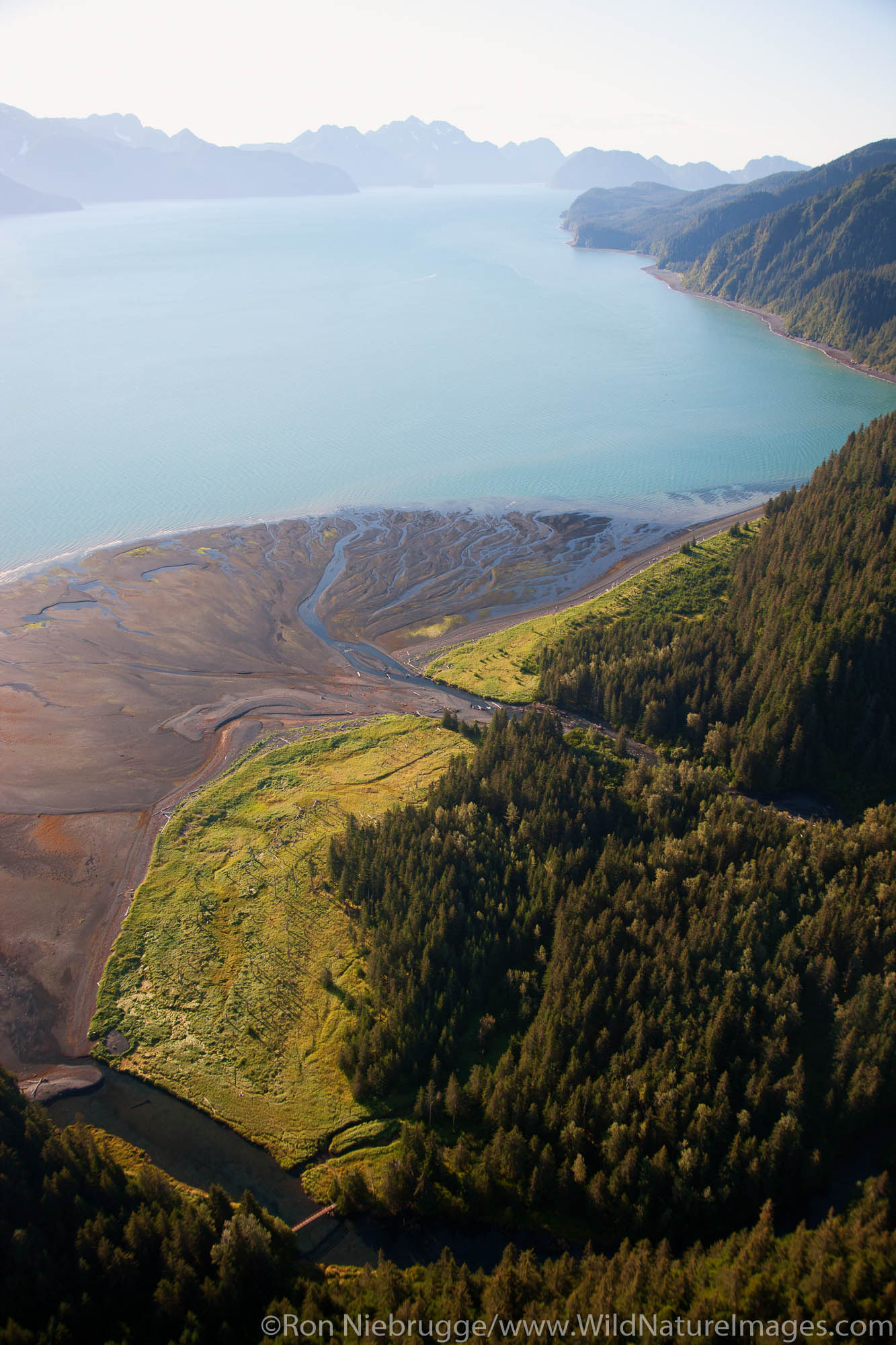 Aerial of Tonsina, Resurrection Bay, Alaska.