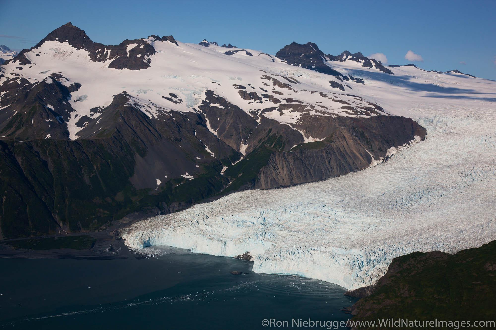 Aerial Kenai Fjords National Park, Aialik Glacier, near Seward, Alaska.