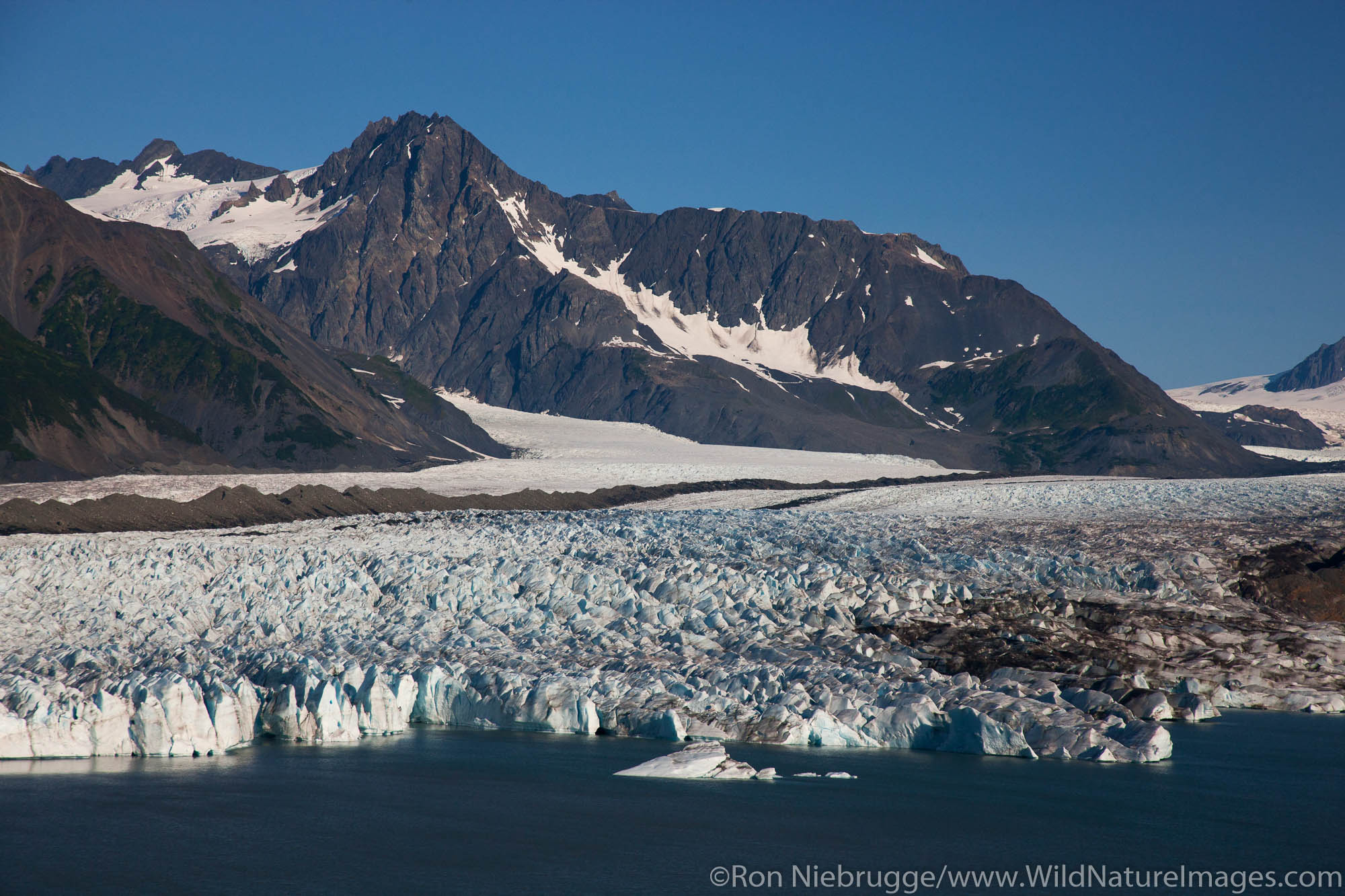 Aerial of Bear Glacier and Bear Lagoon, Kenai Fjords National Park, near Seward, Alaska.