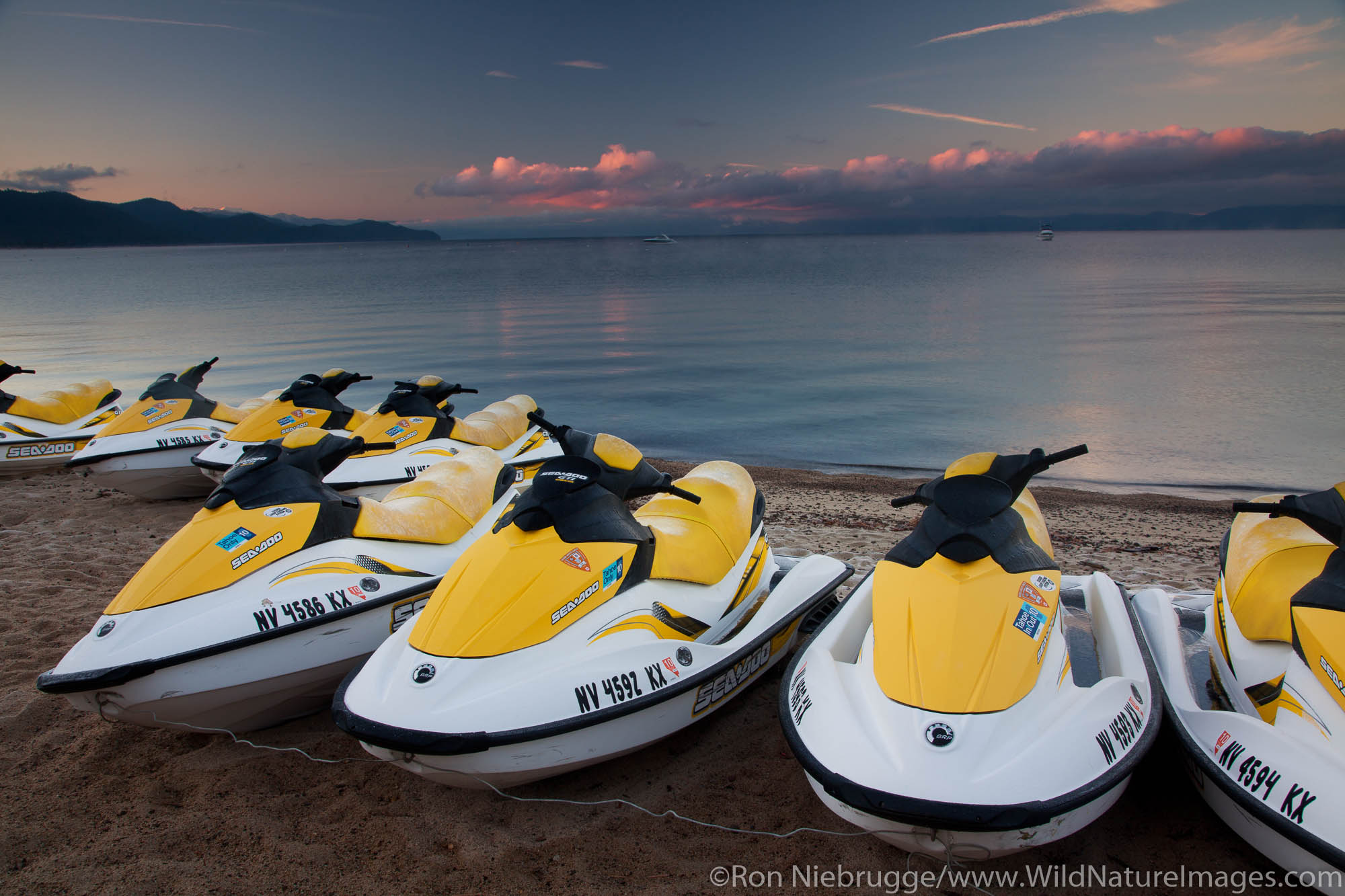 Jet skis on beach at Lake Tahoe, Nevada