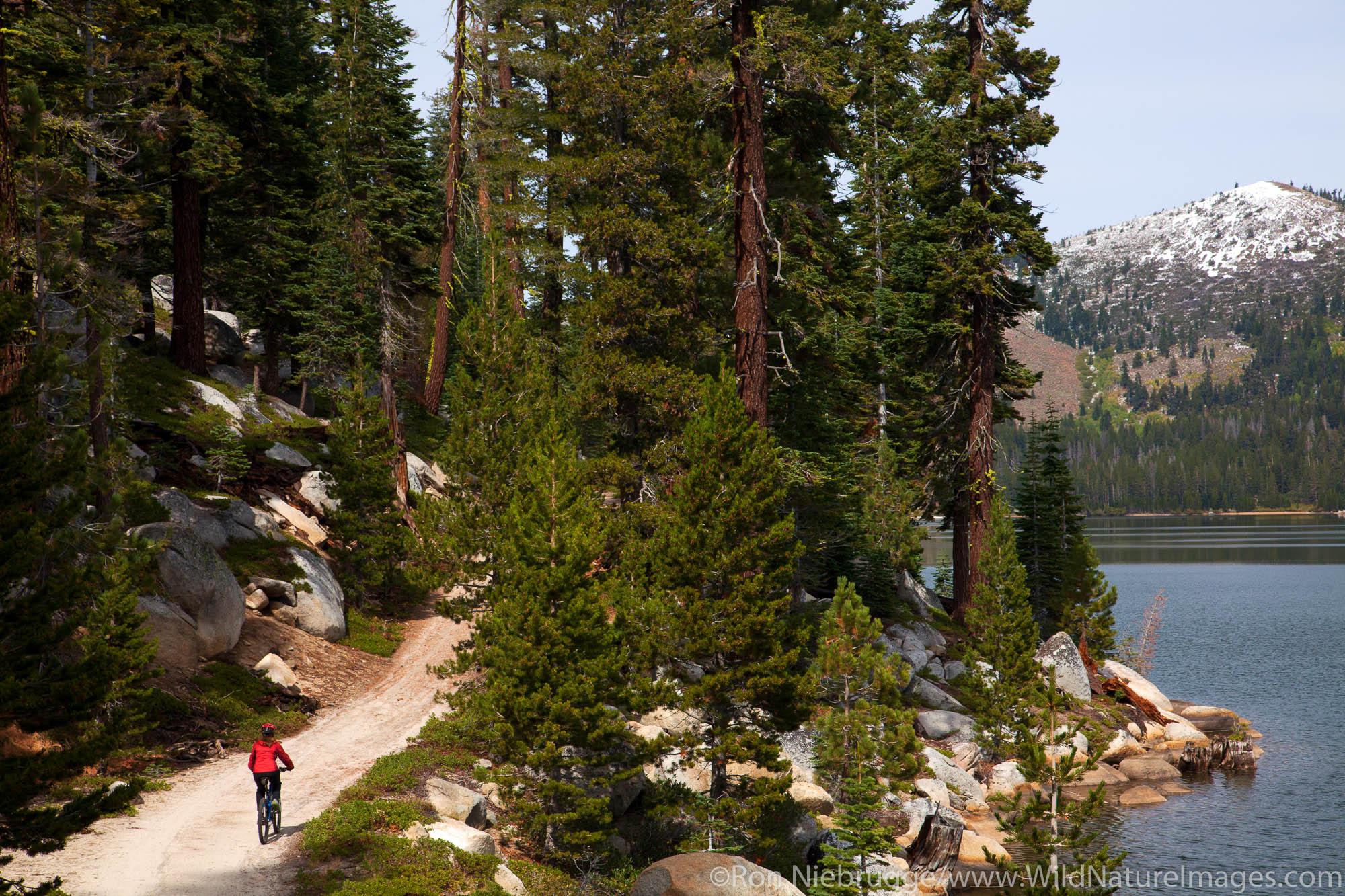 Mountain biking on the Flume Trail along Marlette Lake, Lake Tahoe, NV (model released)