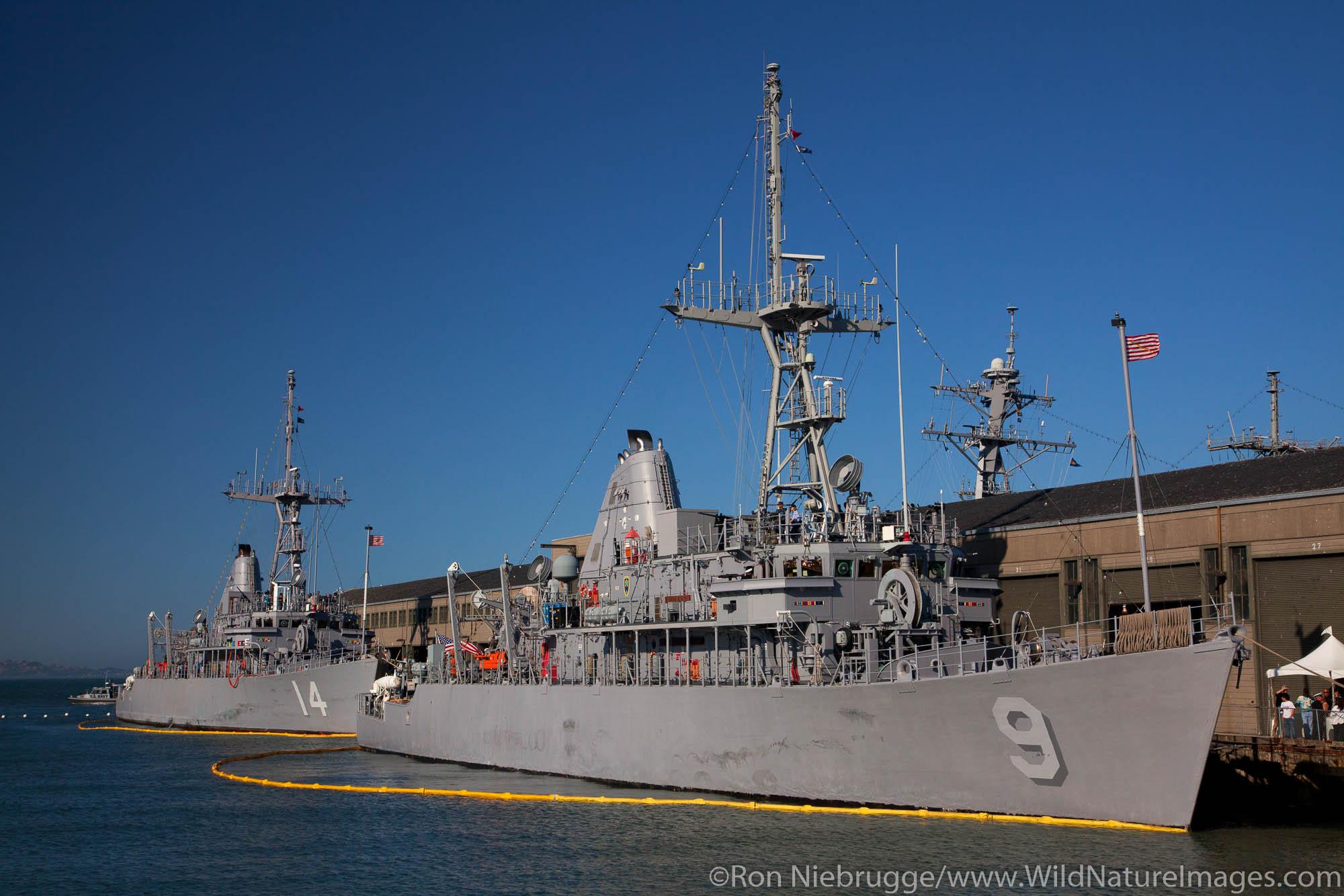 Navy Battleships along the Embarcadero, Fisherman's Wharf, San Francisco, CA