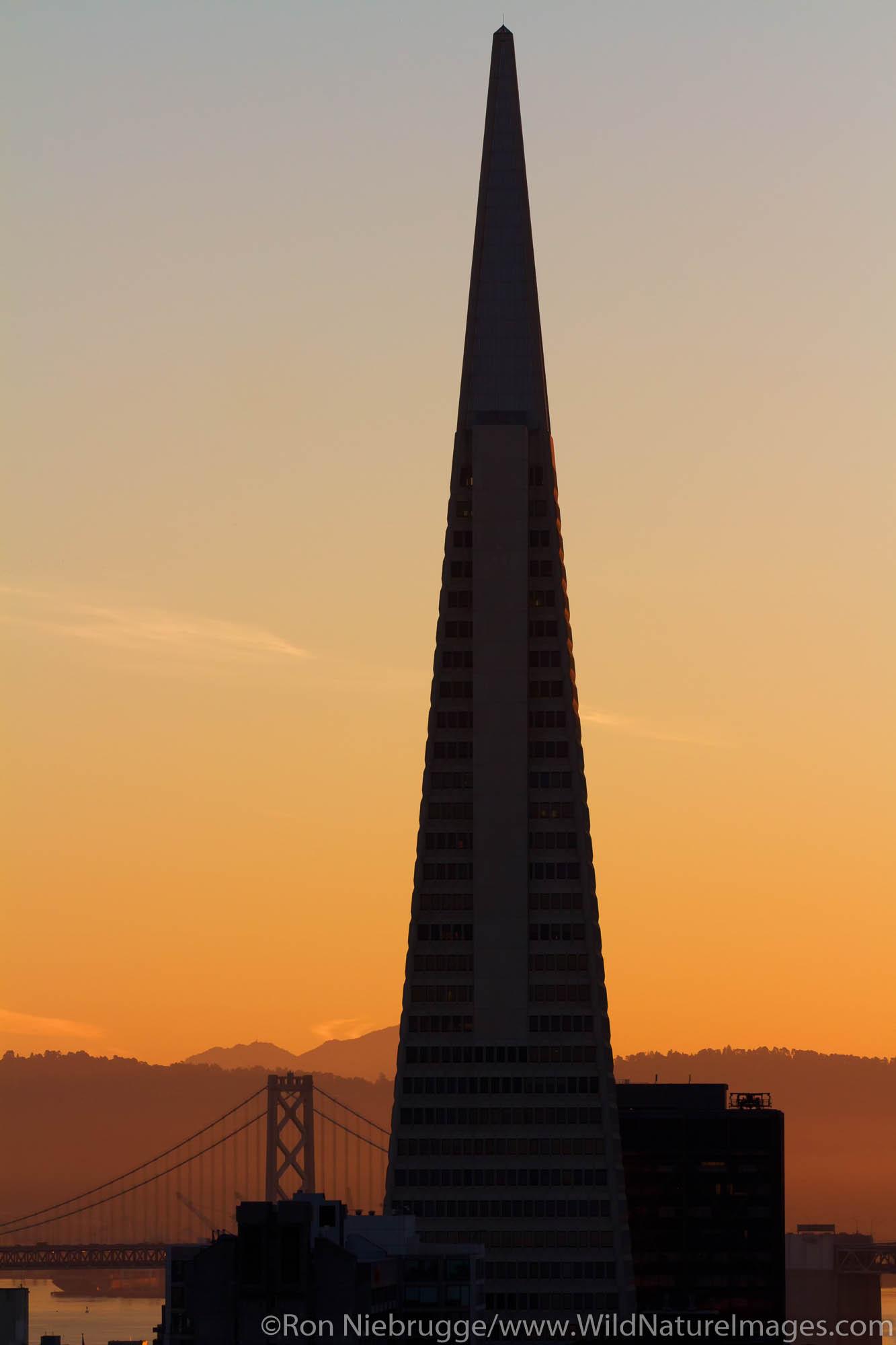 Transamerica Pyramid and Bay Bridge, San Francisco, CA
