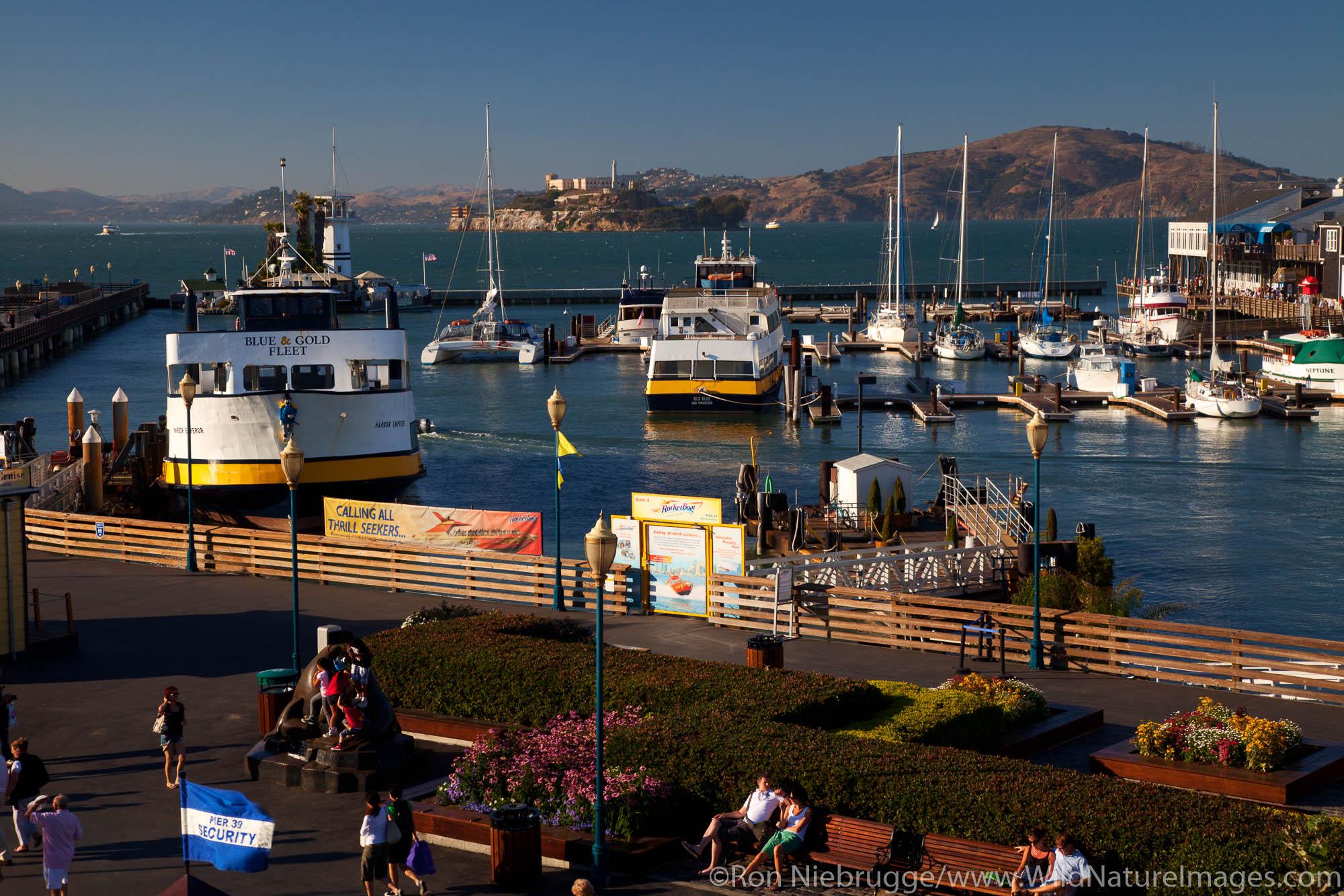 Fisherman's Wharf with Alcatraz, San Francisco, CA
