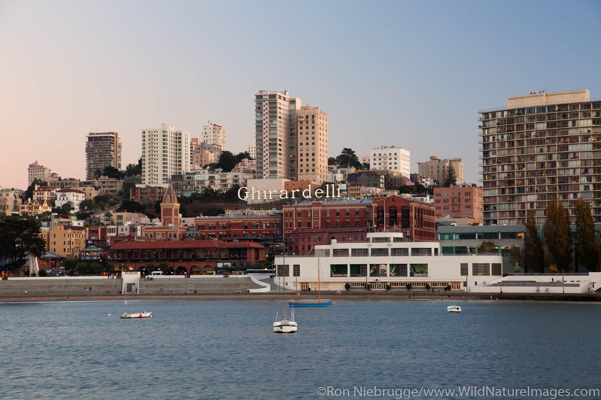 View across Aquatic Park lagoon to Ghirardelli Square, San Francisco, CA