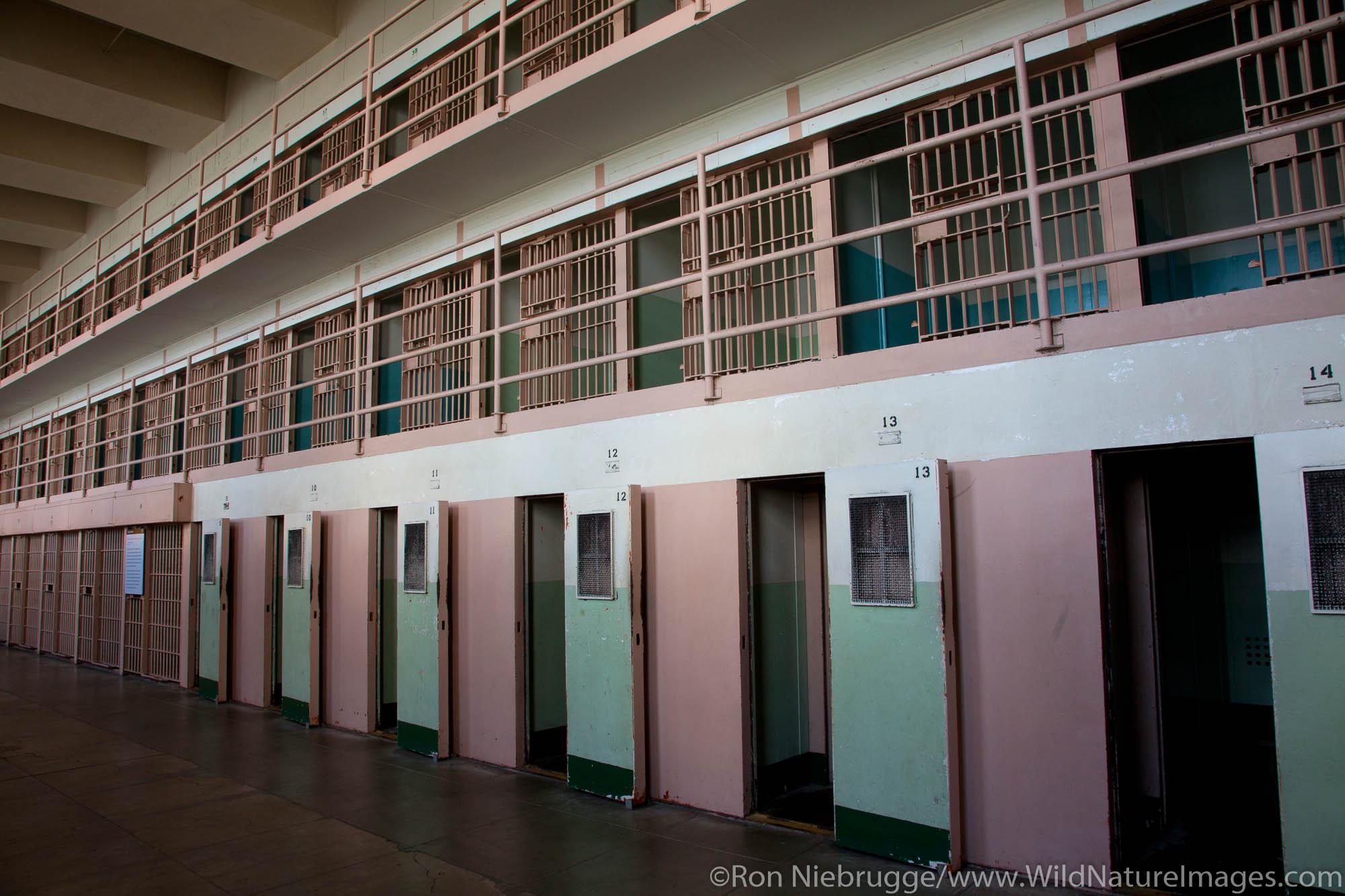 Inside cellhouse at Alcatraz, D Block, San Francisco, CA