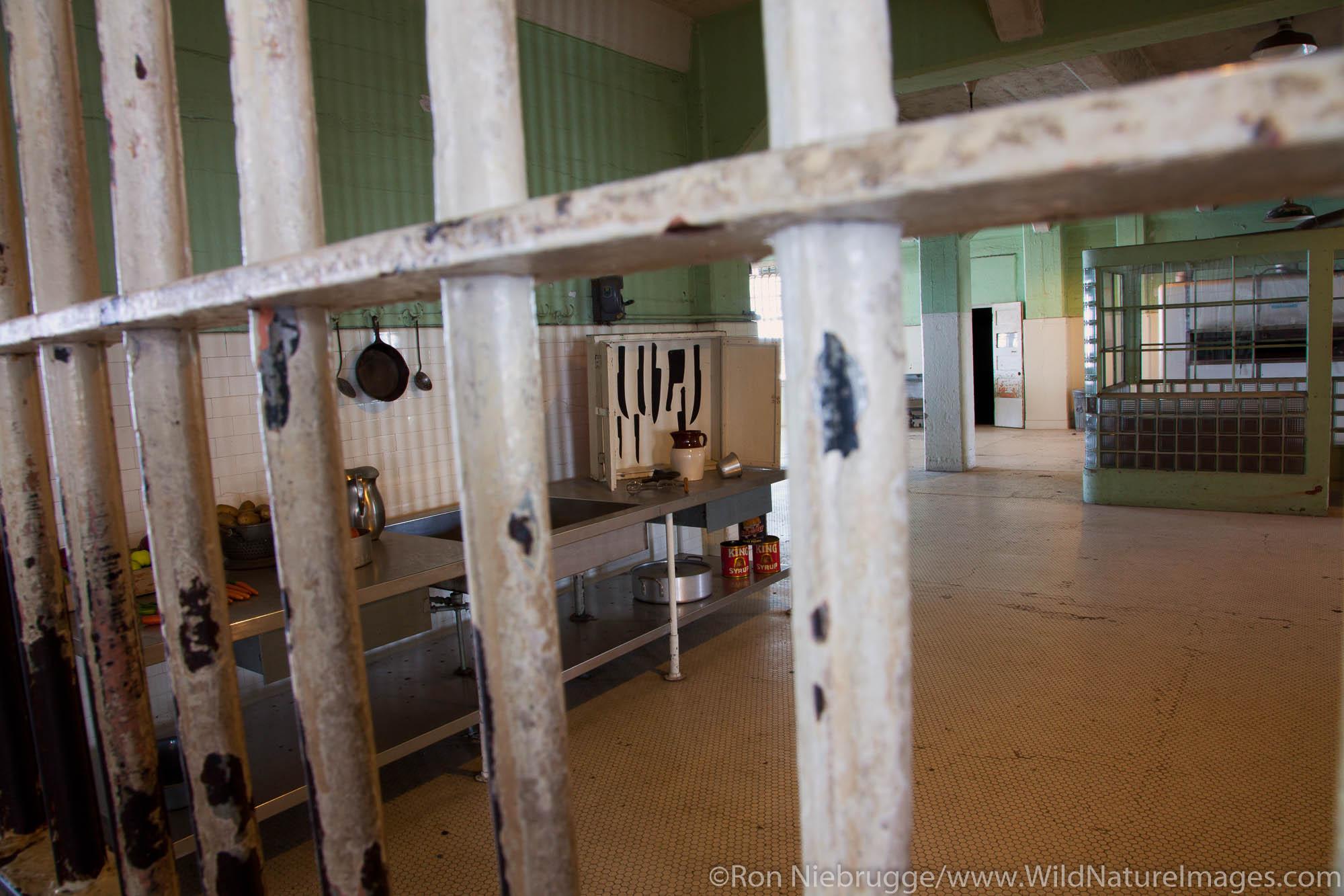 Kitchen area inside cellhouse at Alcatraz, San Francisco, CA