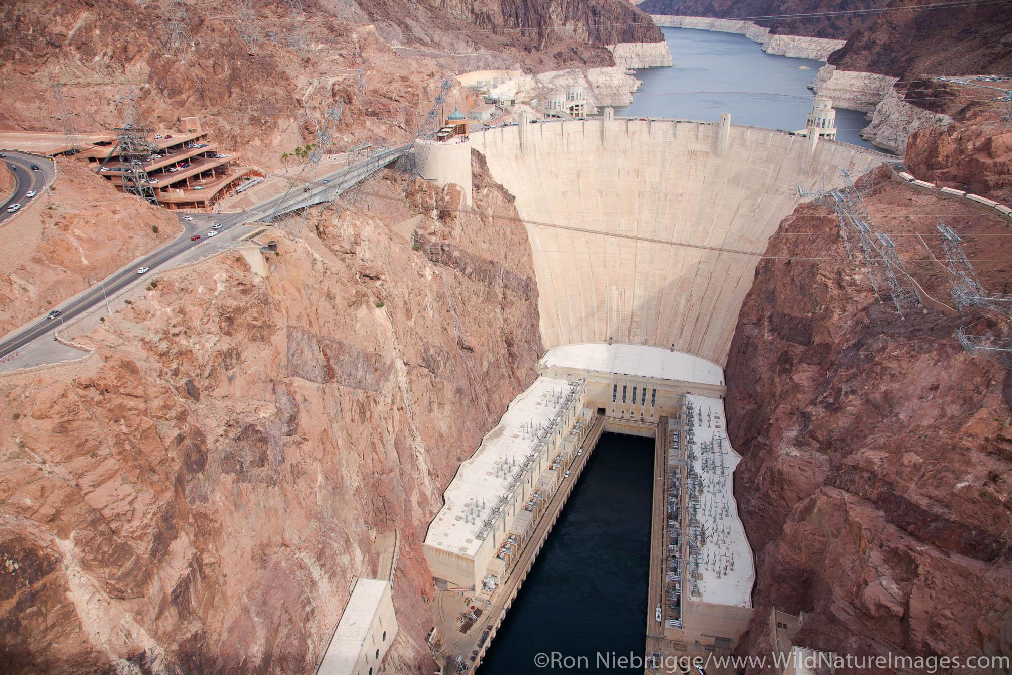 Hoover Dam from the Mike O'Callaghan – Pat Tillman Memorial Bridge, Mojave Desert, Nevada
